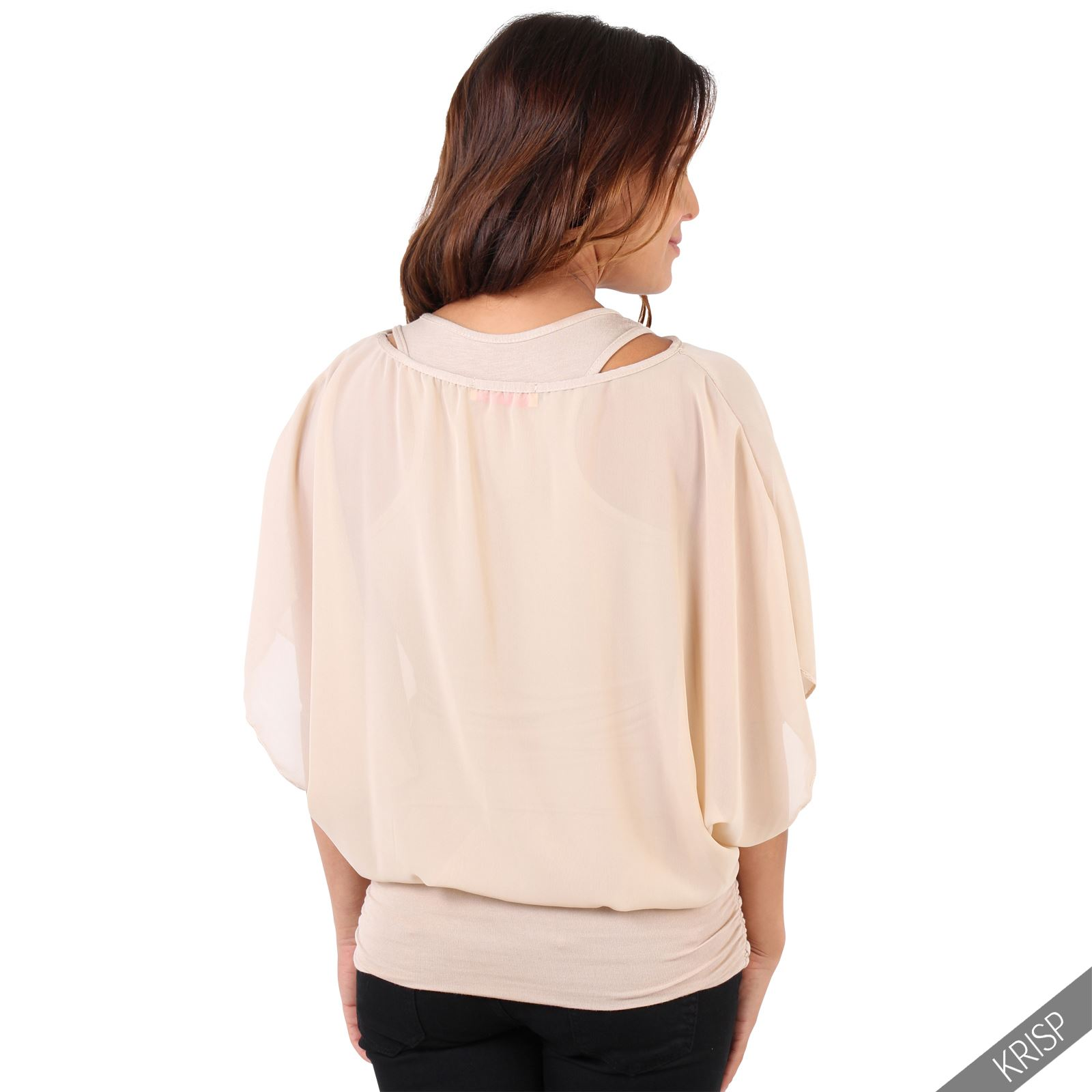 Womens-Scoop-Neck-Blouse-Baggy-Batwing-T-Shirt-Top-Ladies-Oversized-Chiffon-2in1 thumbnail 29