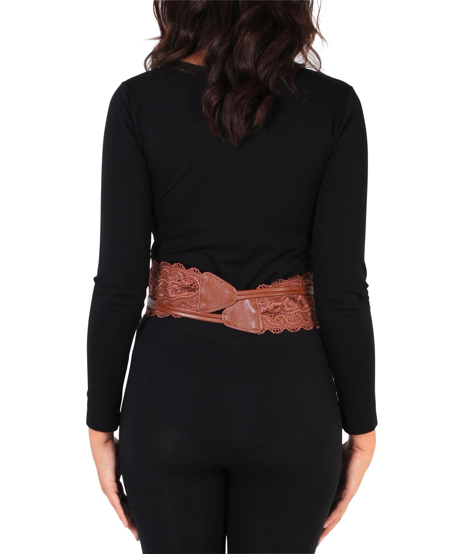 thumbnail 13 - Womens-Ladies-Wide-Waist-Belt-Floral-Waistband-Pattern-Band-Crochet-Lace-Corset