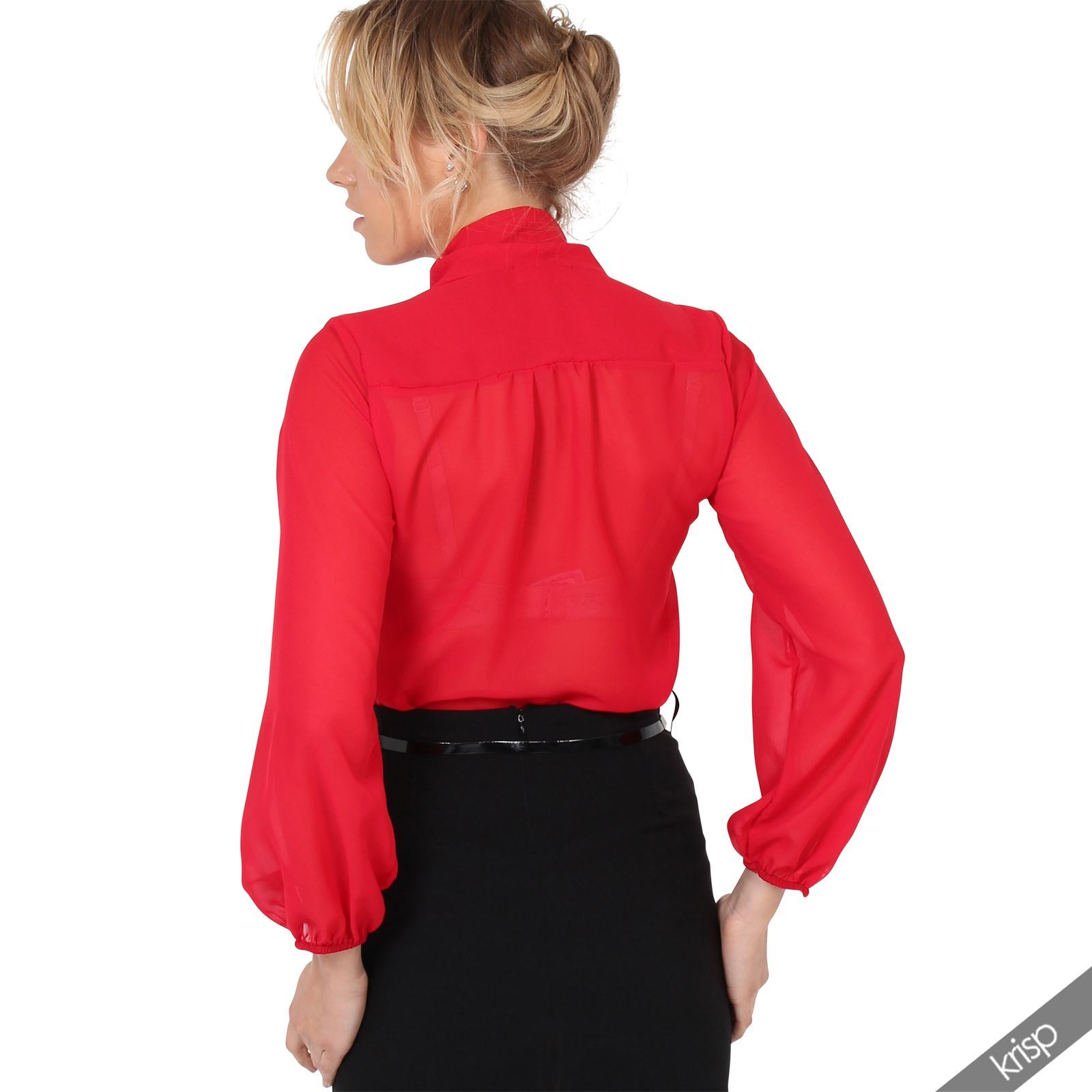Womens-Ladies-Chiffon-Blouse-Long-Sleeve-Pussy-Bow-Top-Plain-Shirt-Office-Party thumbnail 16