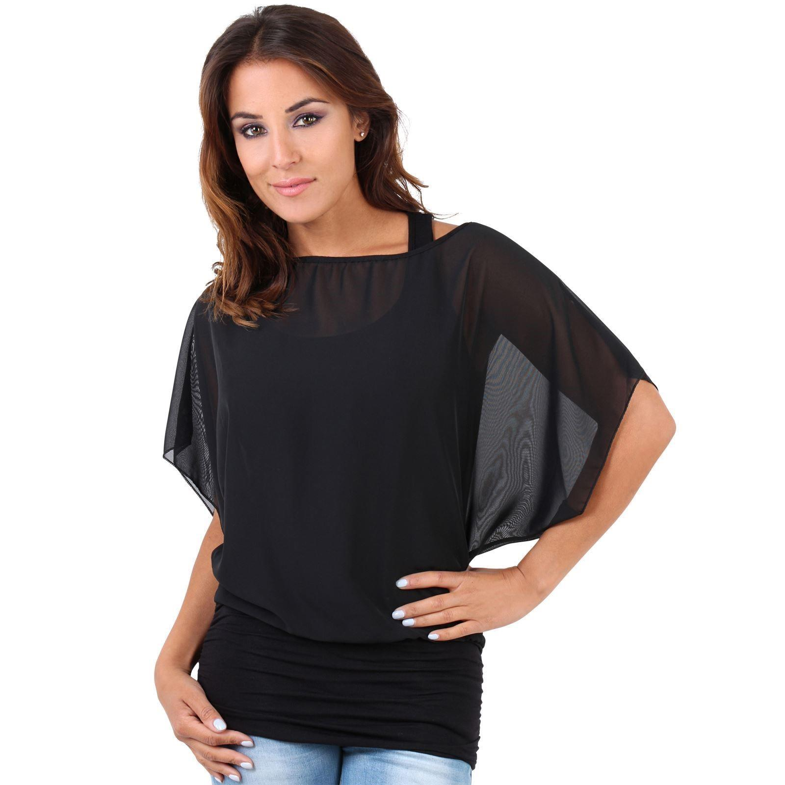 Womens-Scoop-Neck-Blouse-Baggy-Batwing-T-Shirt-Top-Ladies-Oversized-Chiffon-2in1 thumbnail 7