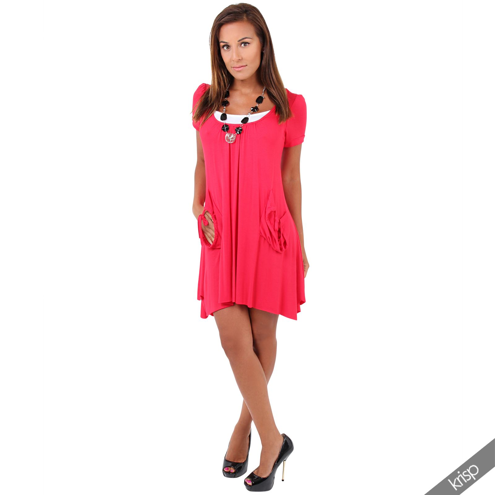 Womens 2 in 1 Boho Pleated A Line Necklace Jersey Tunic Dress Vest ...