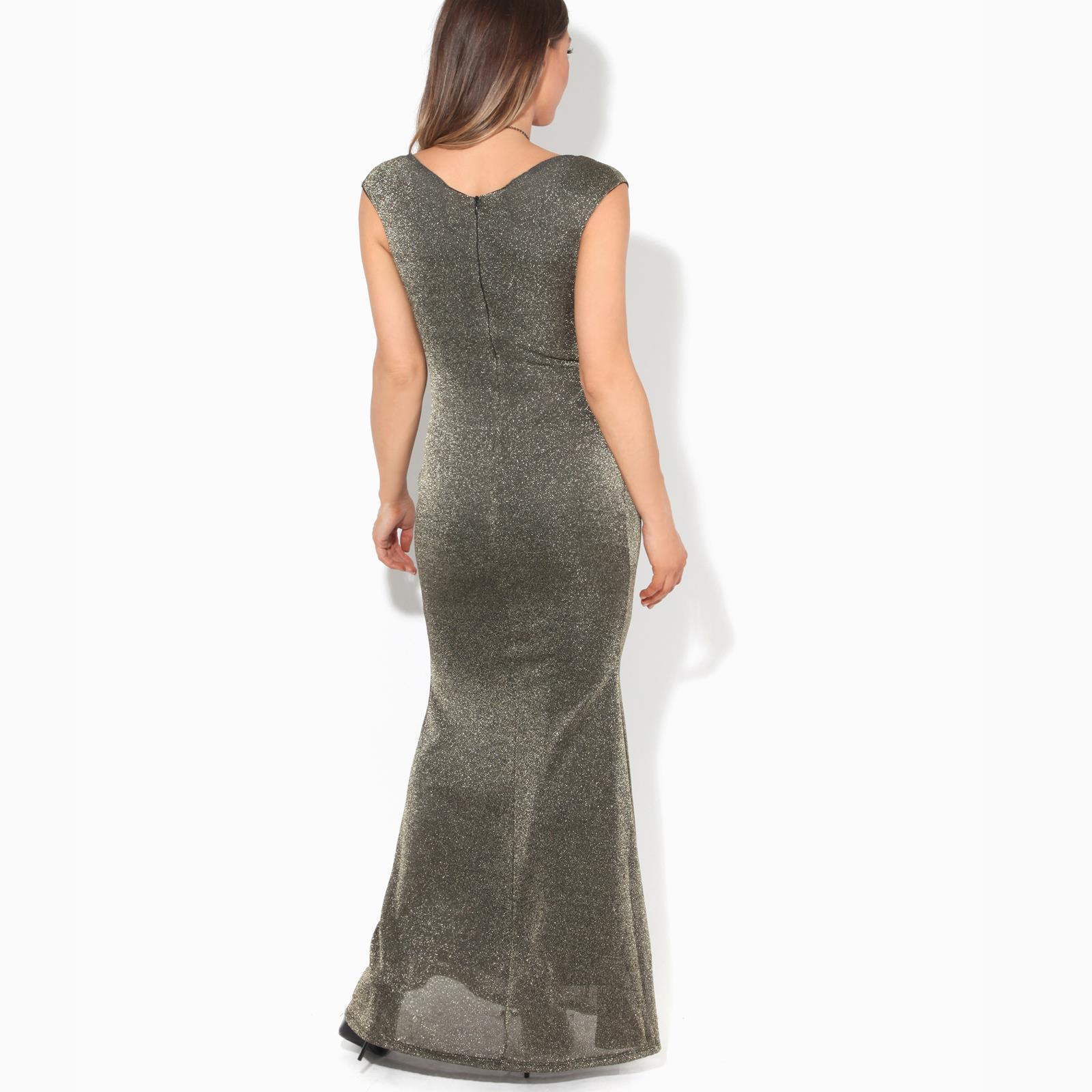 Womens-Ladies-Glitter-Party-Dress-Evening-Lurex-Fishtail-Maxi-Off-Shoulder thumbnail 4