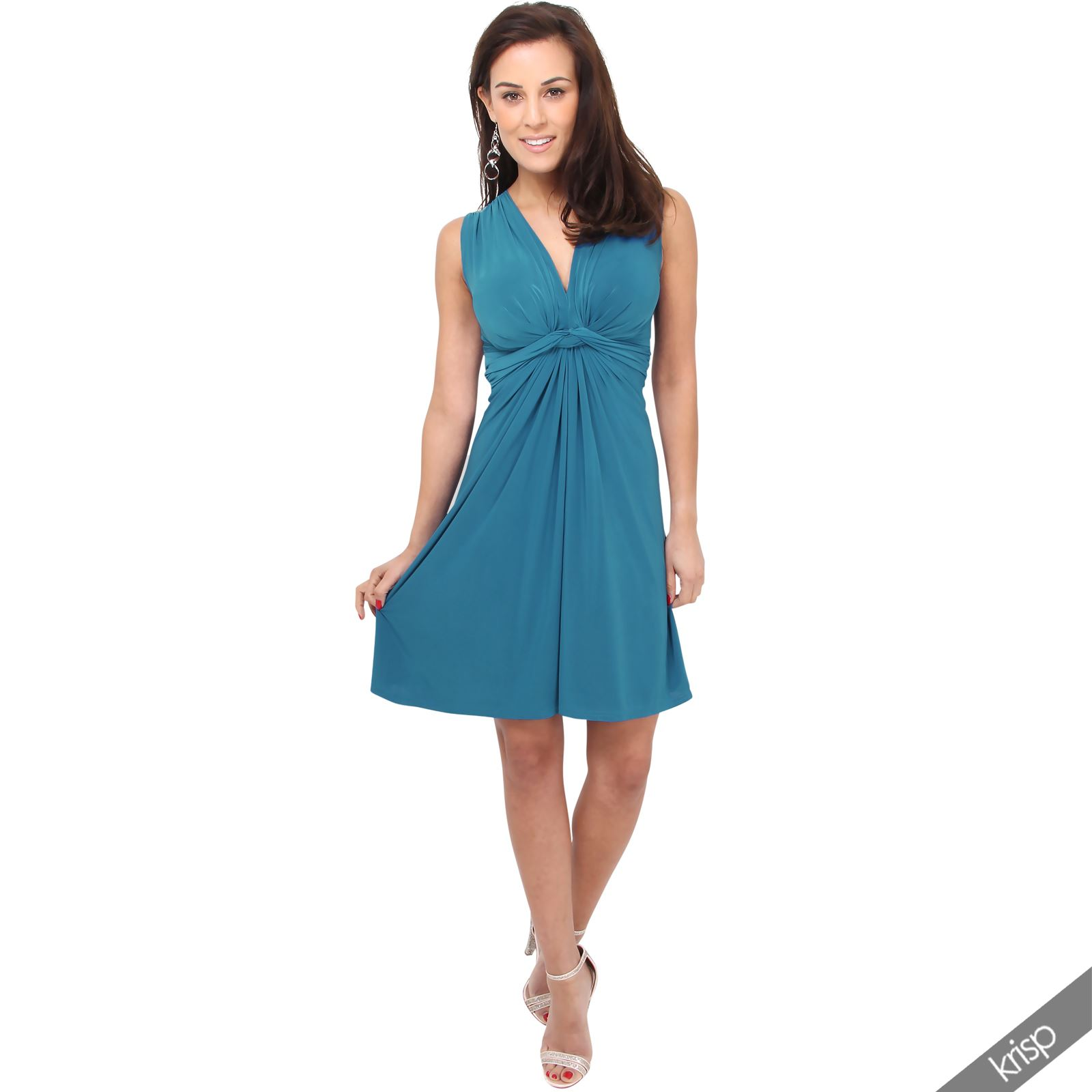 90e25d0a94 Womens Ruched Twist Knot Front Mini Dress Tie Belted USA