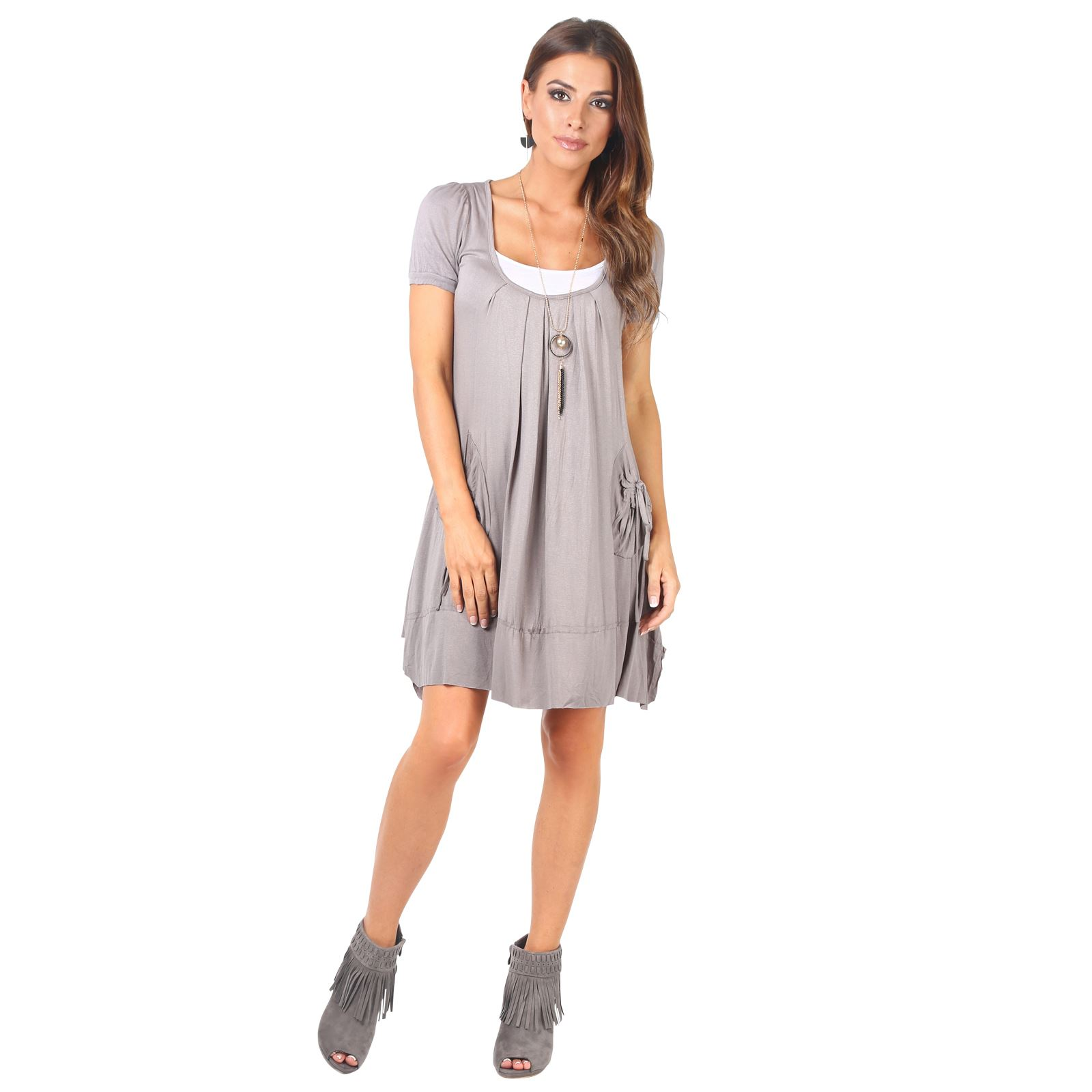 KRISP-Women-2-in-1-Boho-Gypsy-Tunic-Dress-Top-Tee-Jersey-Pleated-A-Line-Necklace thumbnail 15
