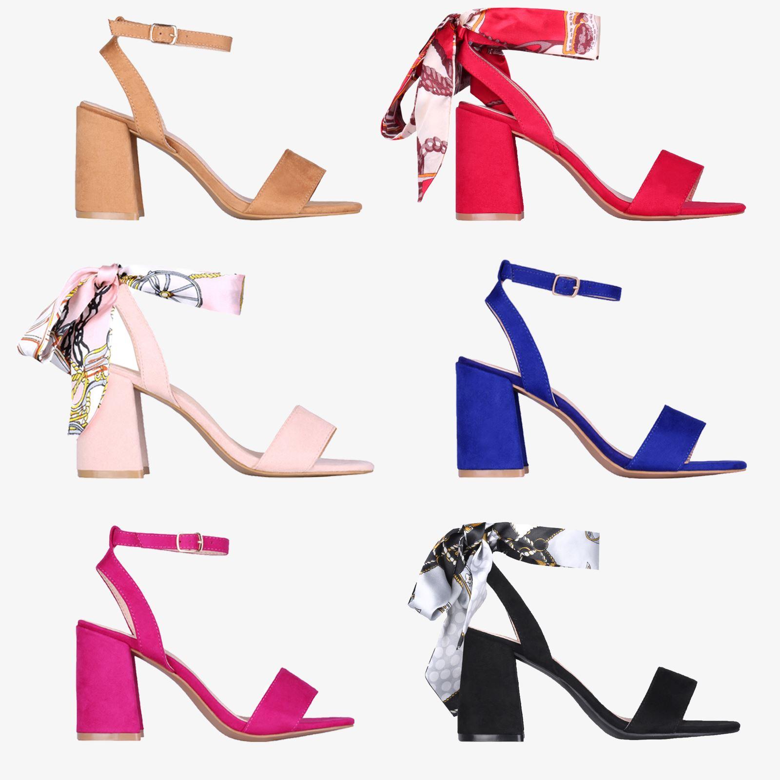 9cb623d8cc5 Details about Womans Ladies Satin Ankle Wrap Mid Block Heel Open Toe Sandals  Summer Shoes 3-8