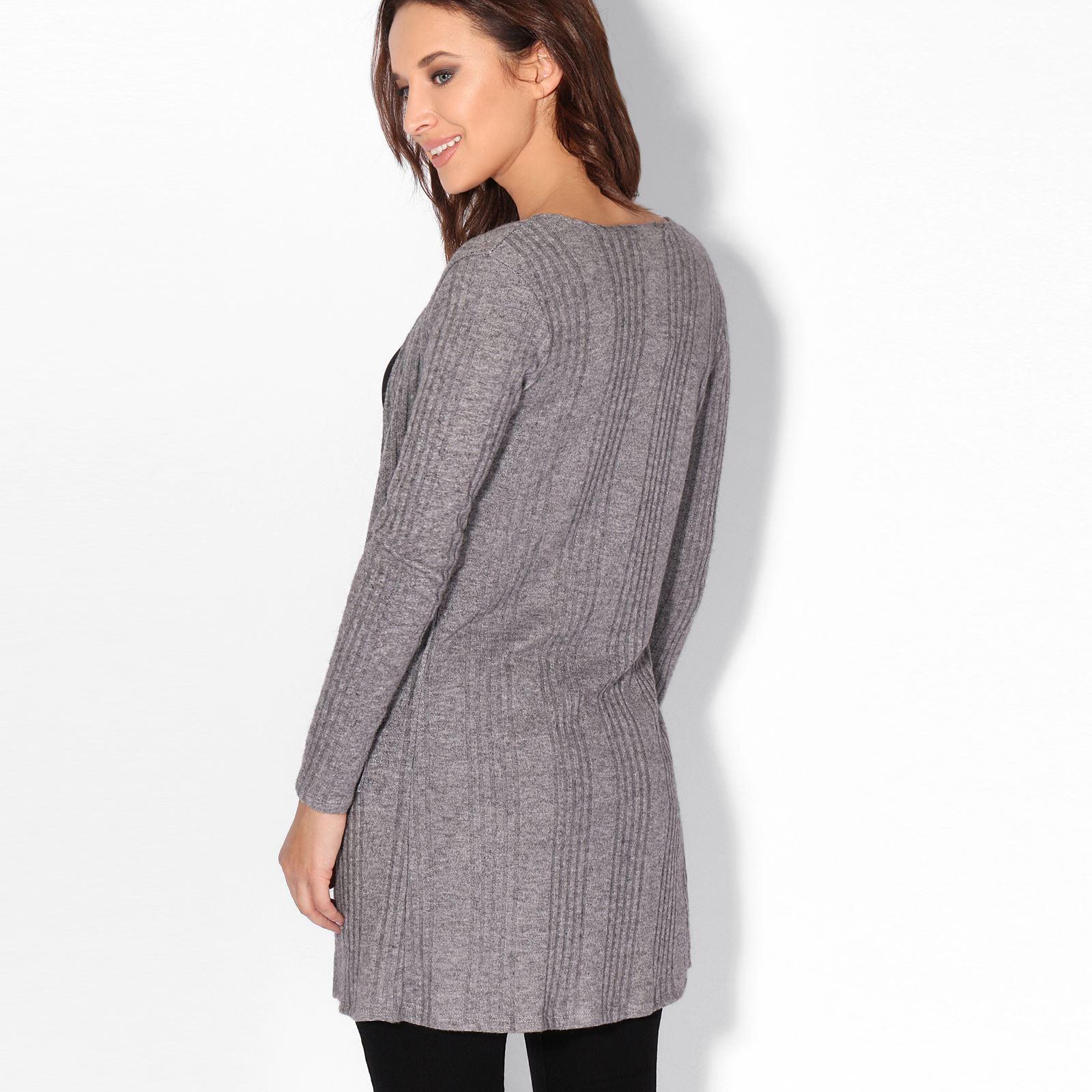 Femmes-Cardigan-Gilet-Long-Manches-Longues-Elegant-Mode-Basique-Casual-Jumper miniature 5