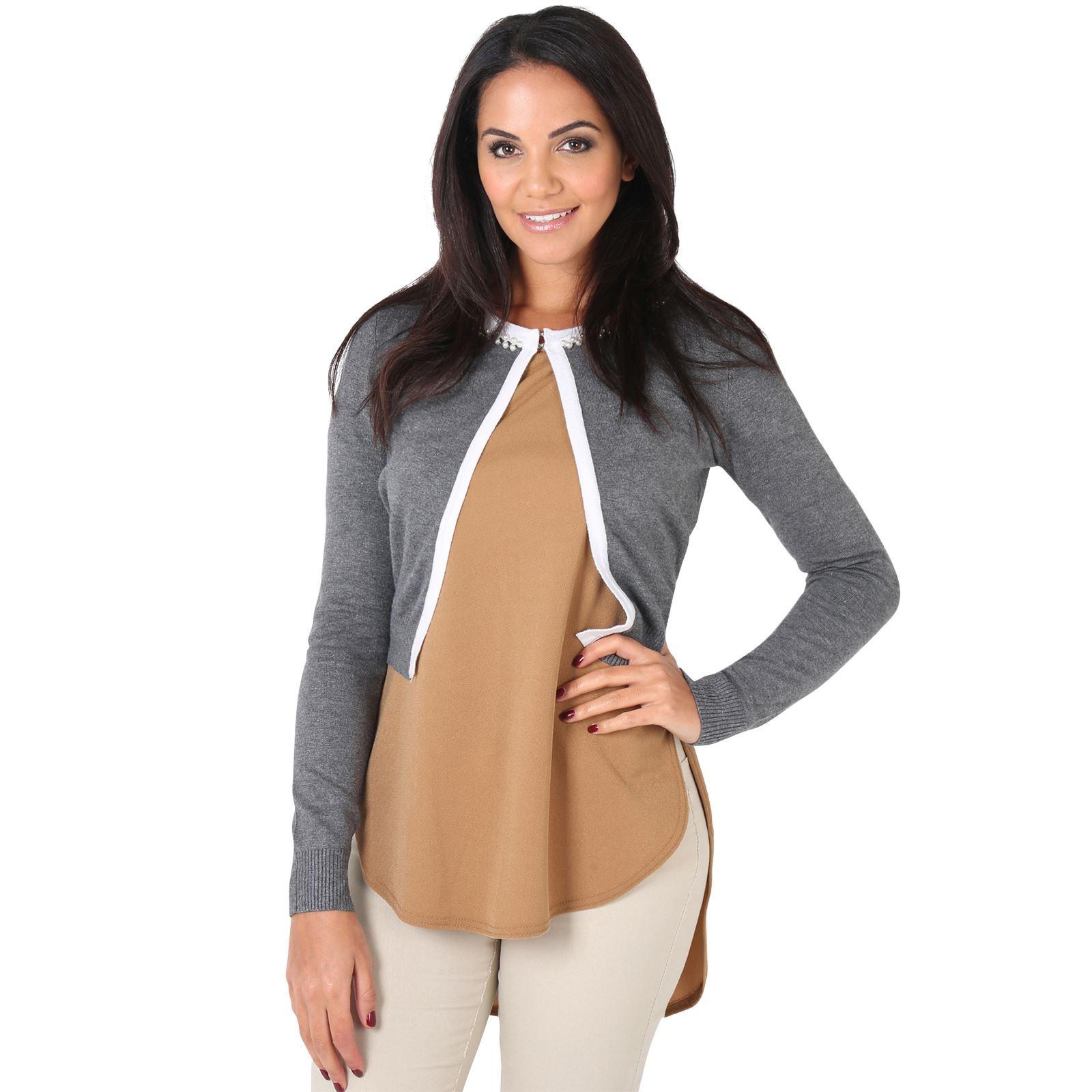 Womens-Ladies-Bolero-Shrug-Silky-Soft-Cardigan-Long-Sleeve-Knit-Short-Top-Work thumbnail 13