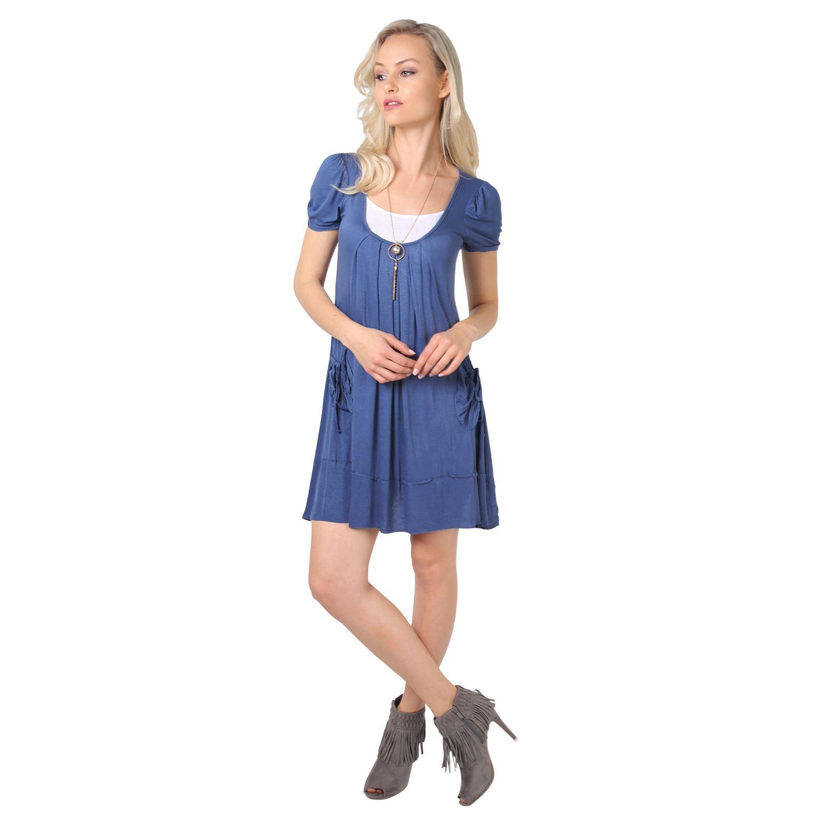 KRISP-Women-2-in-1-Boho-Gypsy-Tunic-Dress-Top-Tee-Jersey-Pleated-A-Line-Necklace thumbnail 9