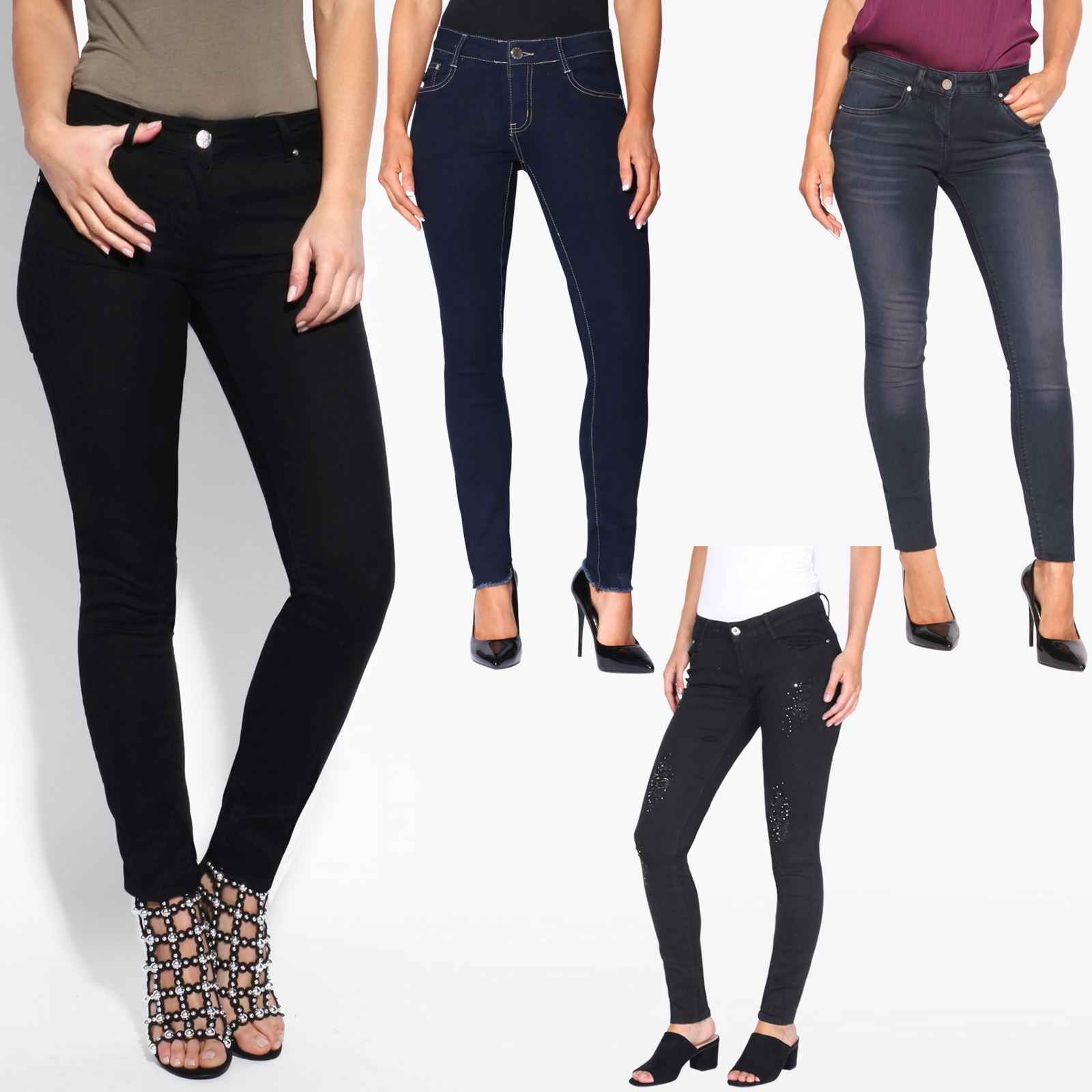 a7d27172bd Women Ladies Ankle Long £10 Skinny Jeans Fitted Slim Leg Soft Denim Pants  Summer