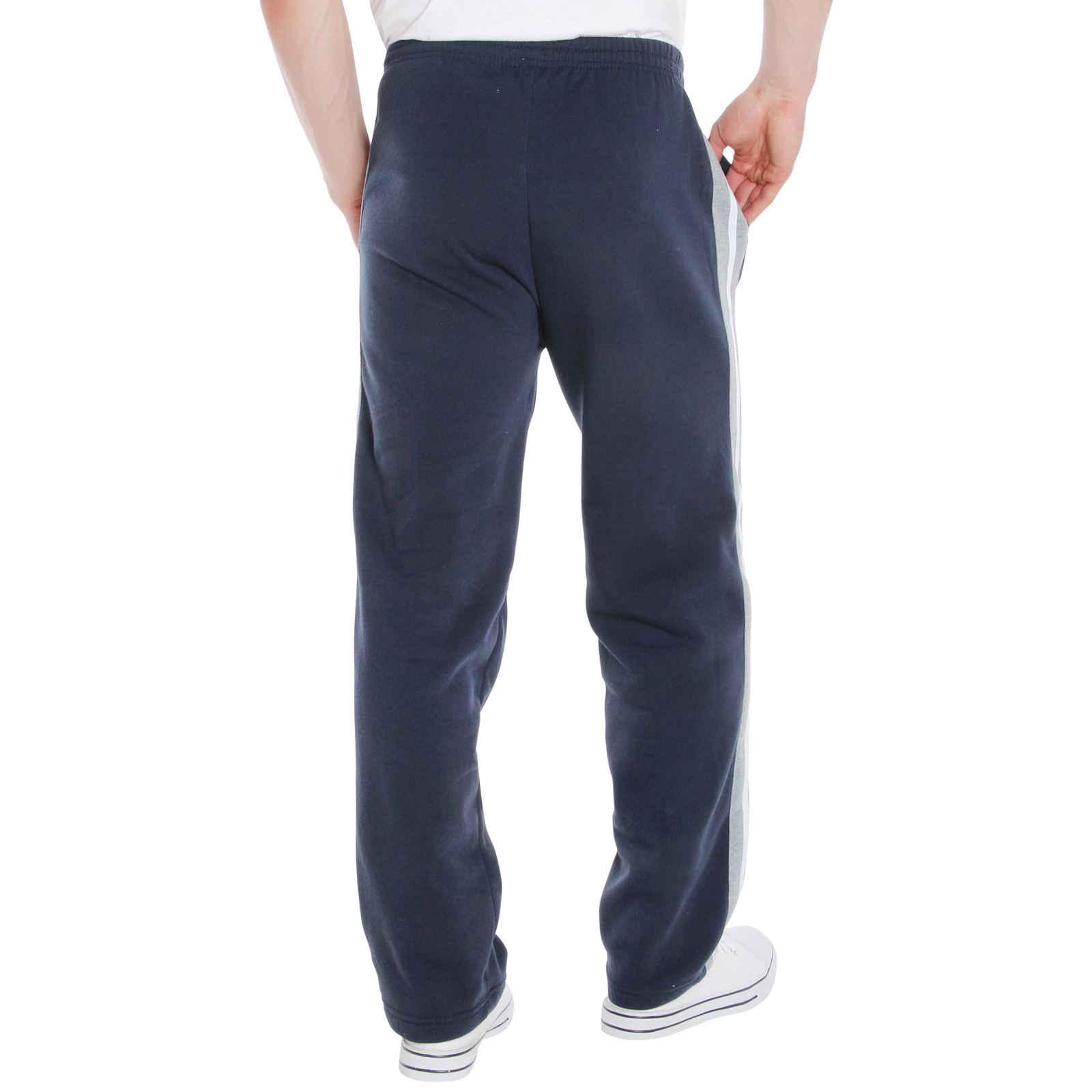Mens-Tracksuit-Bottoms-Striped-Joggers-Jogging-Trousers-Fleece-Pants-Casual-Work thumbnail 34