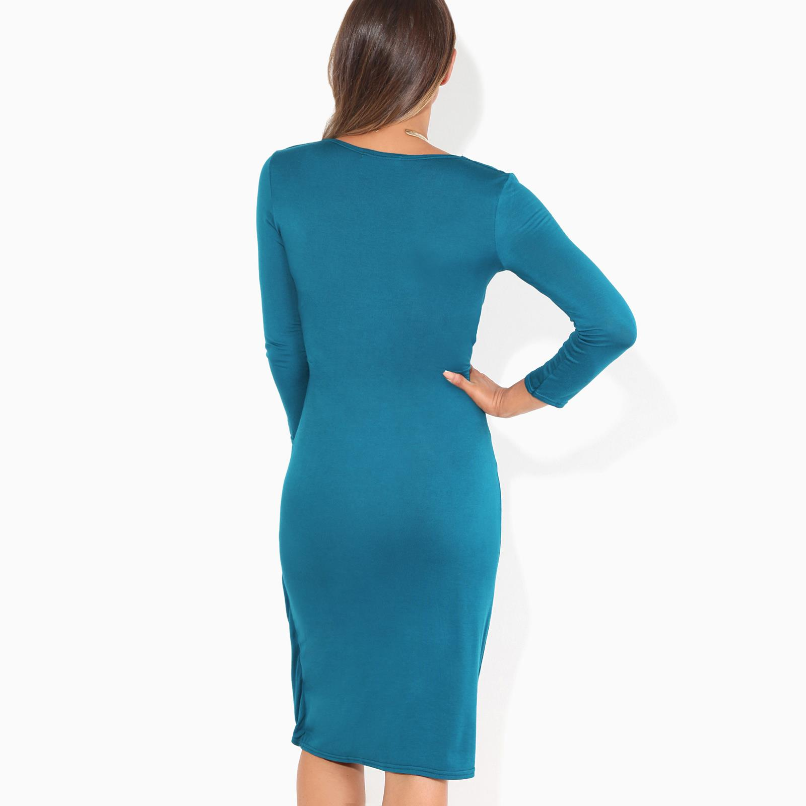 Womens-Ladies-Shift-Wrap-Dress-Midi-Knee-Long-Quarter-Sleeve-Sexy-Solid-Party thumbnail 31
