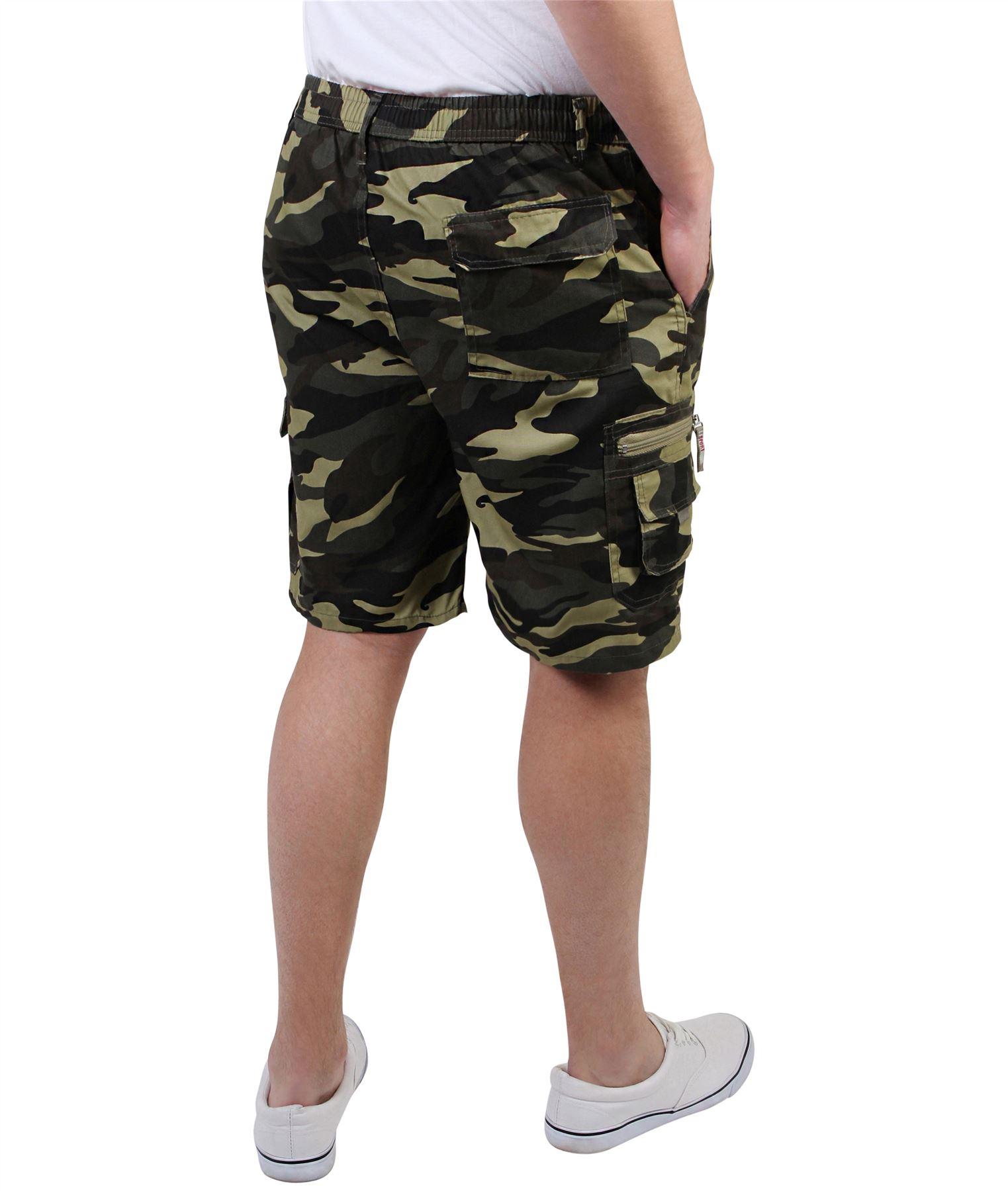 Men Camo Cargo Shorts Summer Army Camouflage Combat Camo Cargo Pocket Short PanT
