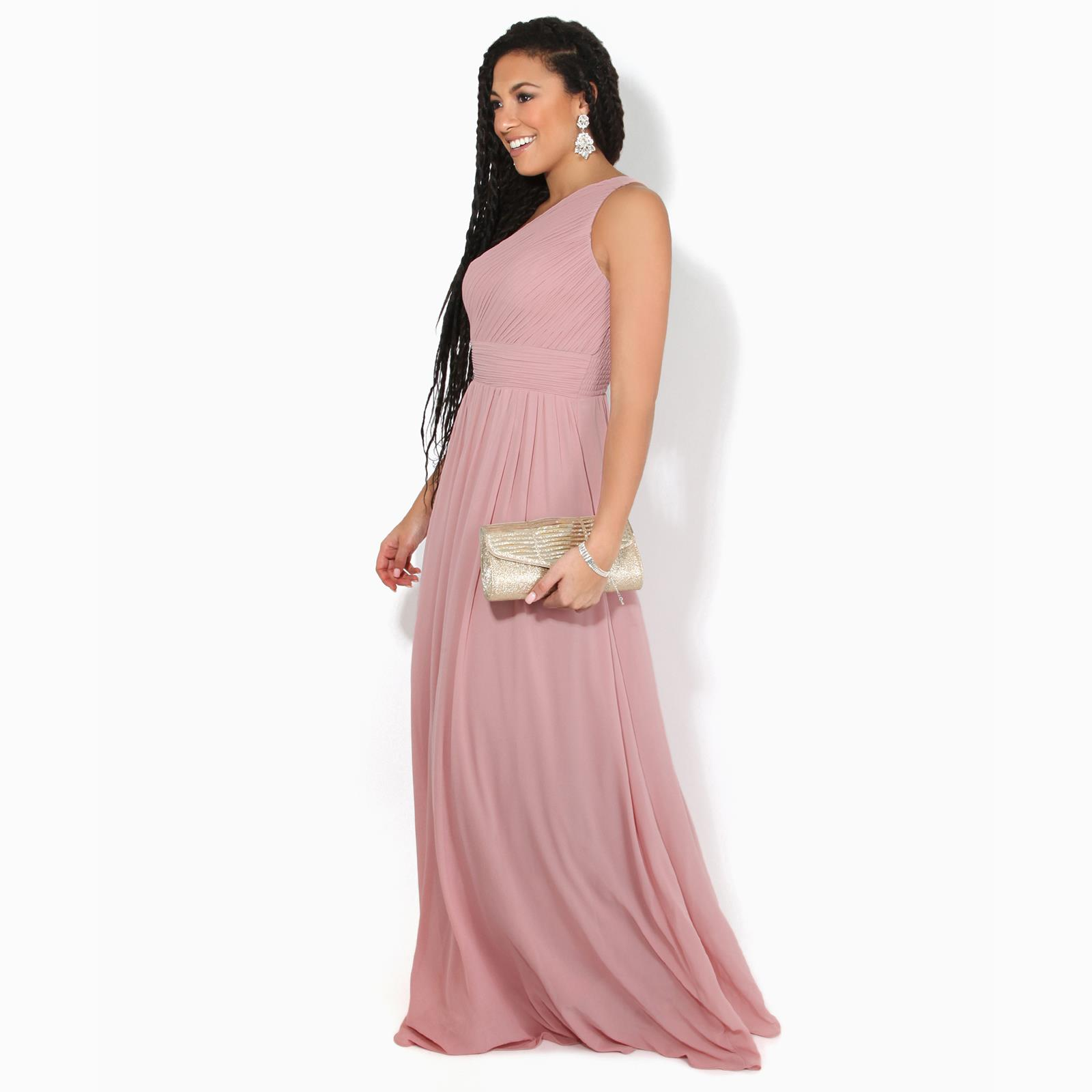Womens-Wedding-Bridesmaid-Prom-Dress-Formal-One-Off-Shoulder-Long-Evening-8-18 thumbnail 25