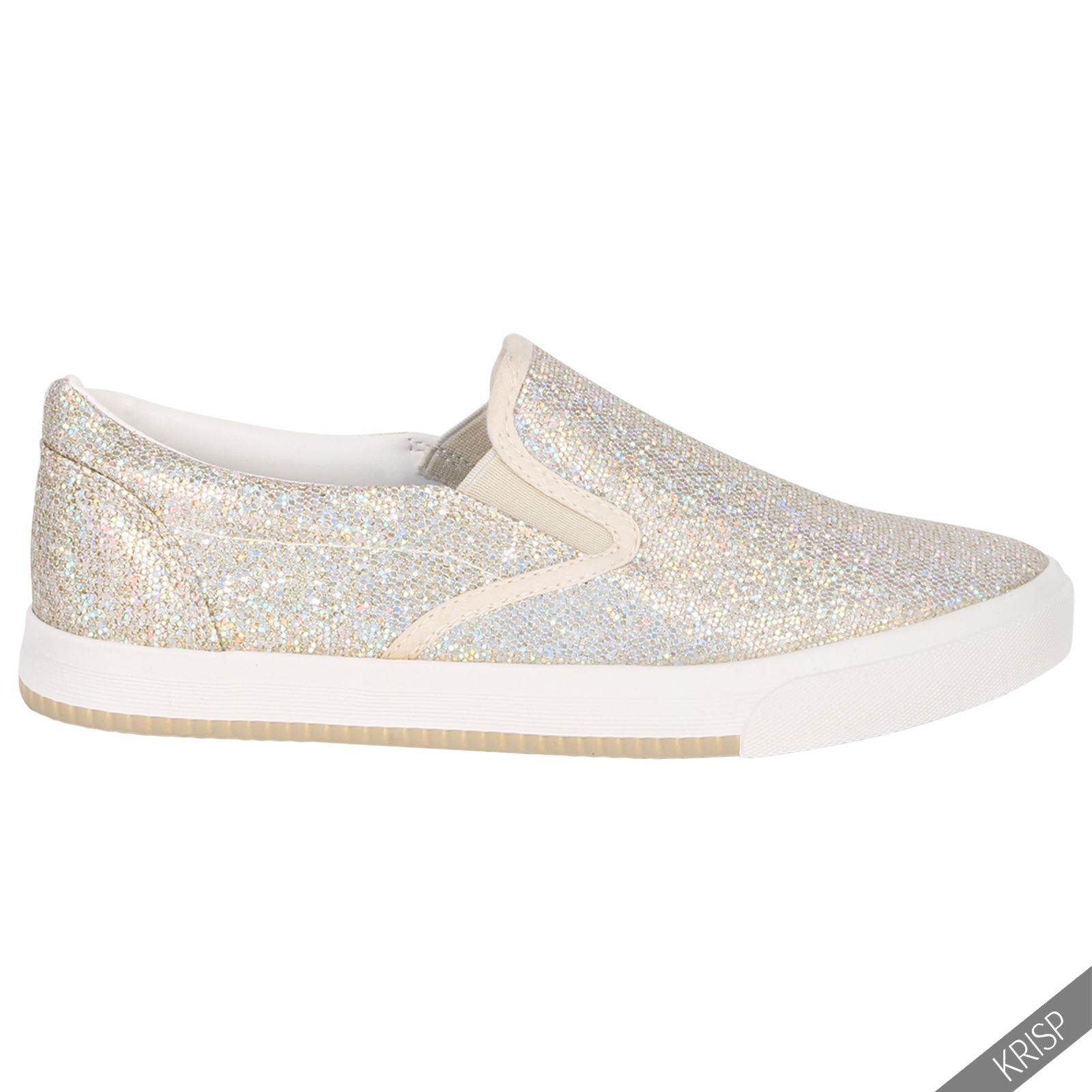 Ladies Gloss Gold Sequin Flat Slip On Plimsolls Skater Pumps Trainers Shoes Size