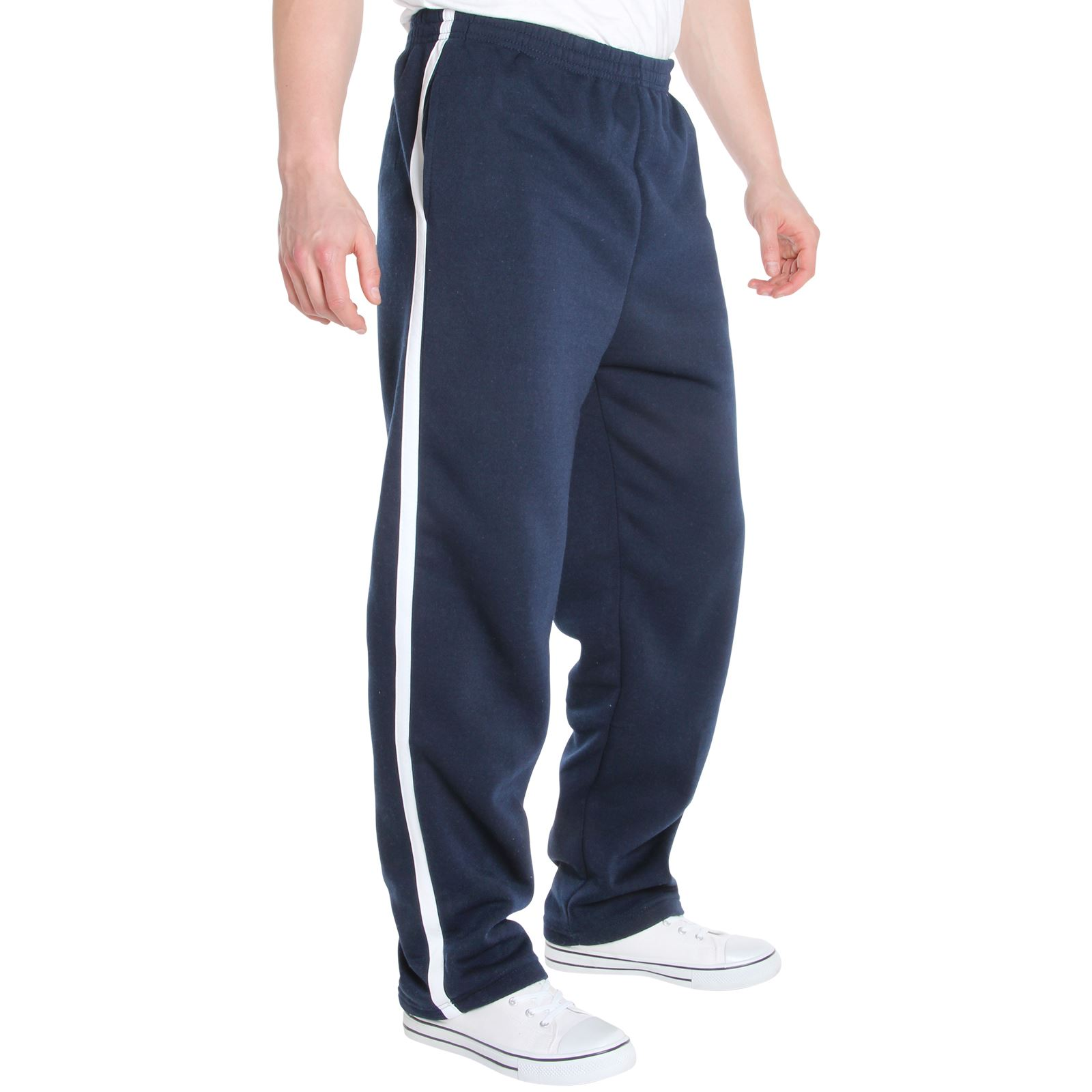 Mens-Tracksuit-Bottoms-Striped-Joggers-Jogging-Trousers-Fleece-Pants-Casual-Work thumbnail 36