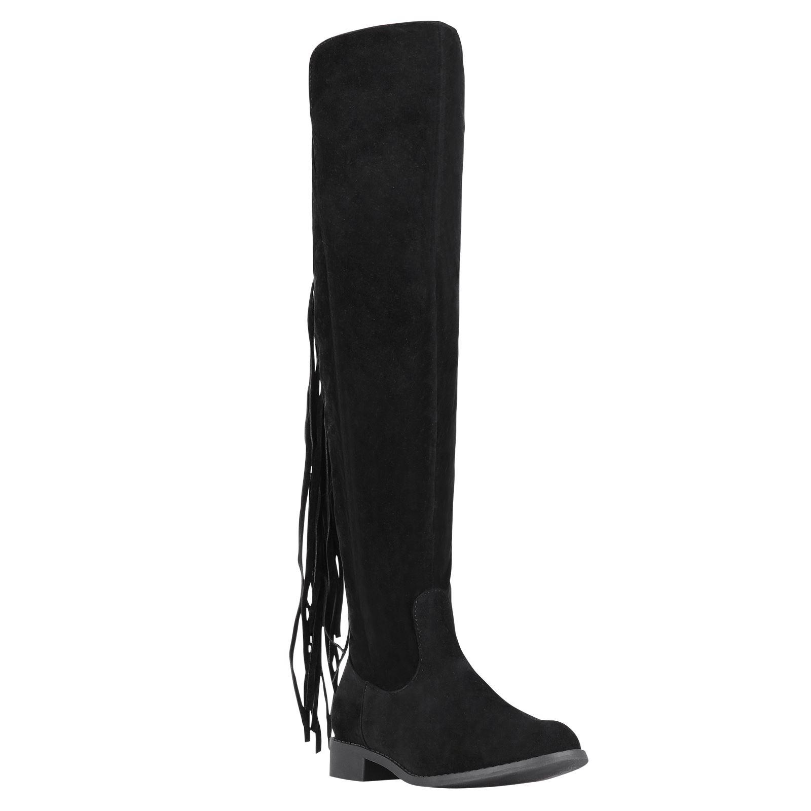 damen frauen kniehohe stiefel fransen wildleder imitat boots hohe winterschuhe ebay. Black Bedroom Furniture Sets. Home Design Ideas
