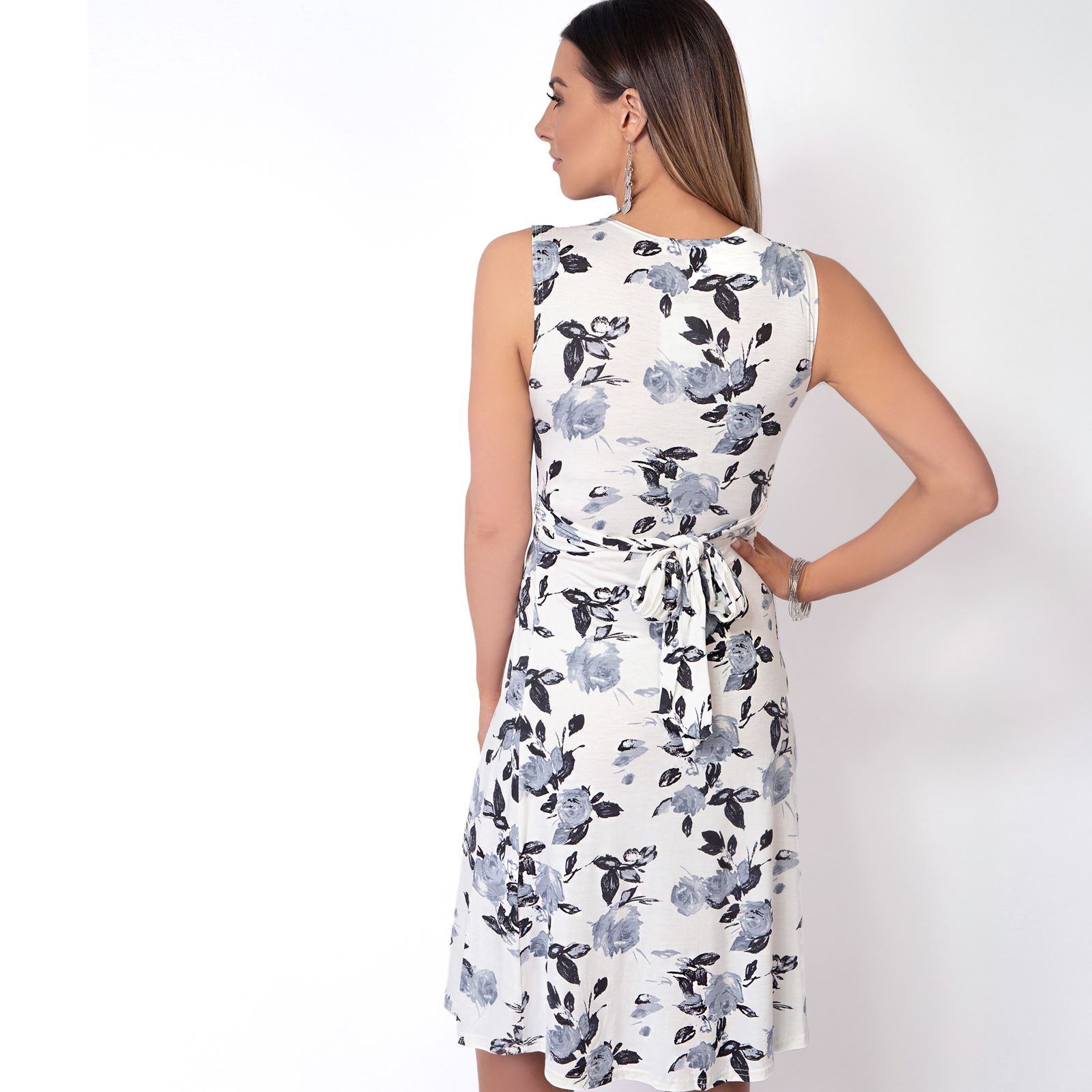Womens-Floral-Print-Dress-Midi-Drape-Ruched-Front-Knot-Tie-Belt-Casual-Party thumbnail 7