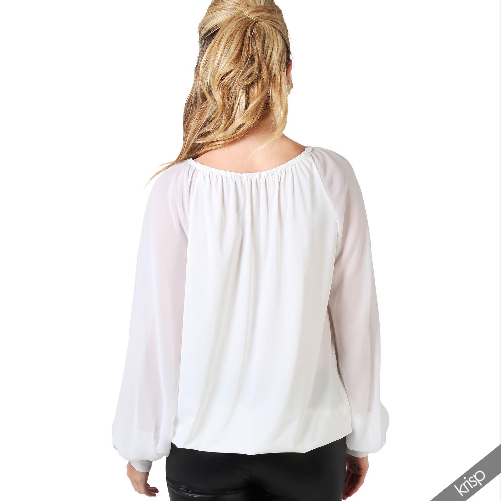 damen chiffon bluse inklusive blumen anstecker mit transparenten langen rmeln ebay. Black Bedroom Furniture Sets. Home Design Ideas