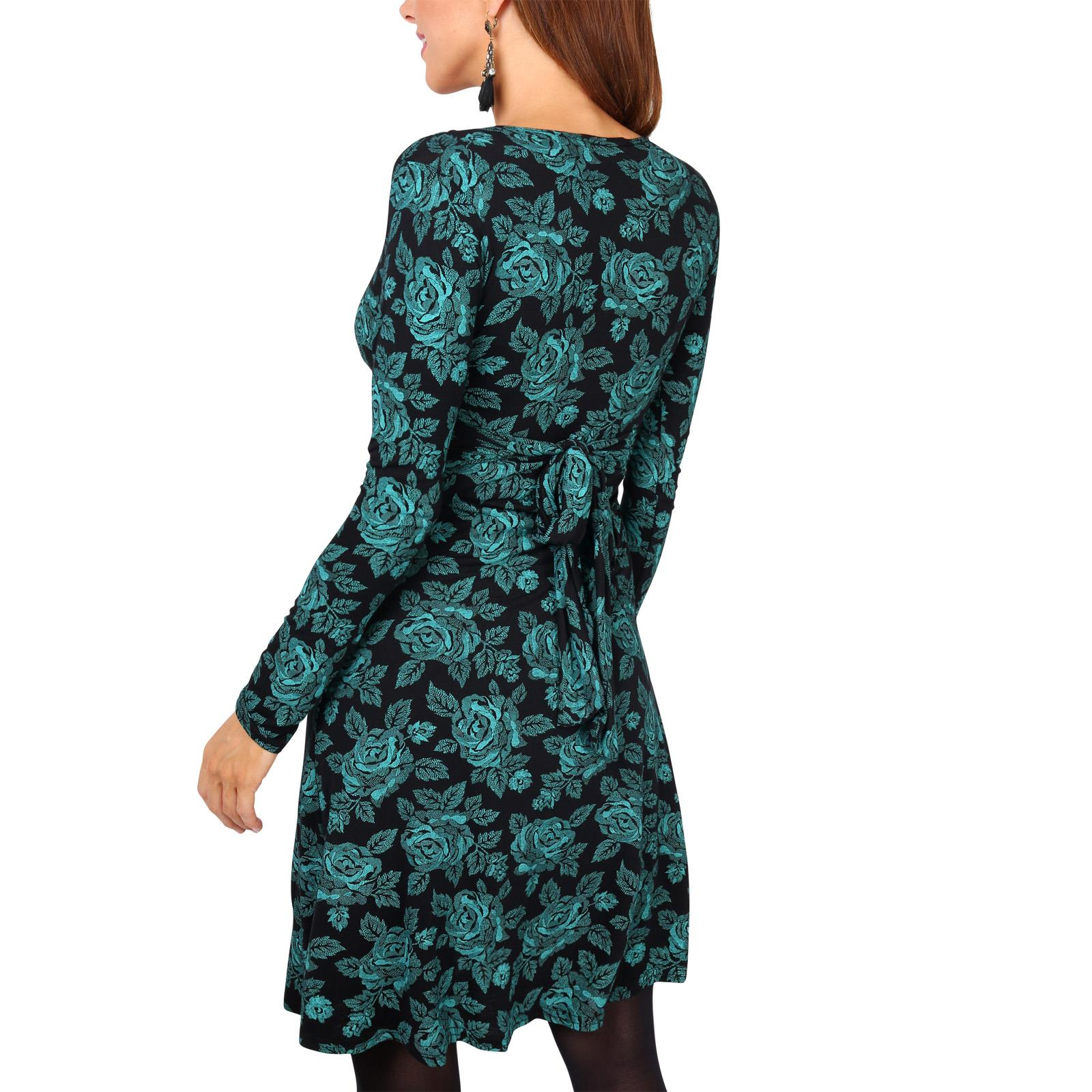 Womens-Ladies-Mini-Dress-Drape-Stretch-Long-Sleeve-Ruched-Twist-Knot-Party-Work thumbnail 85
