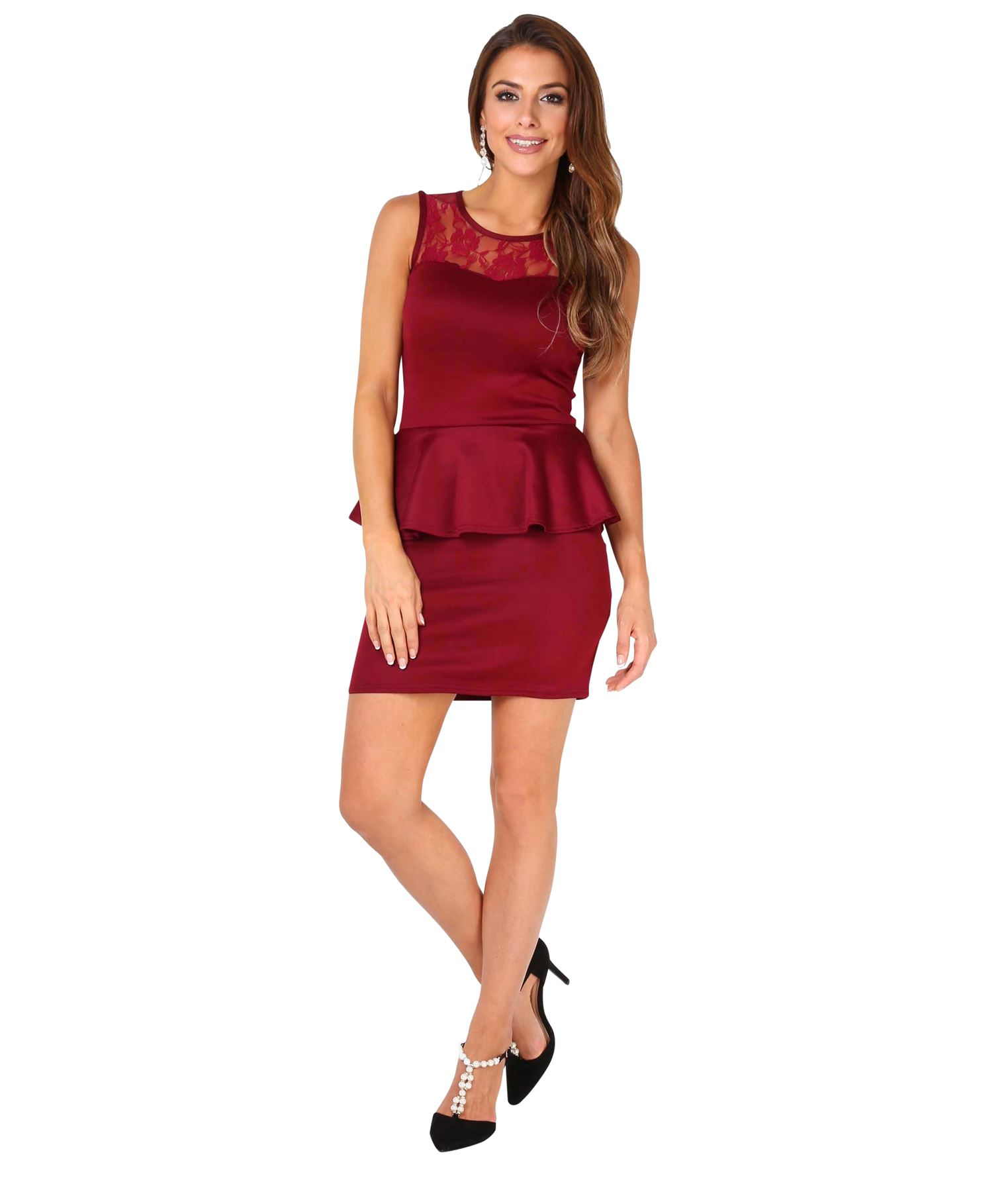 Womens-Ladies-Pencil-Lace-Dress-Mini-Midi-Skirt-Bodycon-Stretch-Frill-Party thumbnail 36