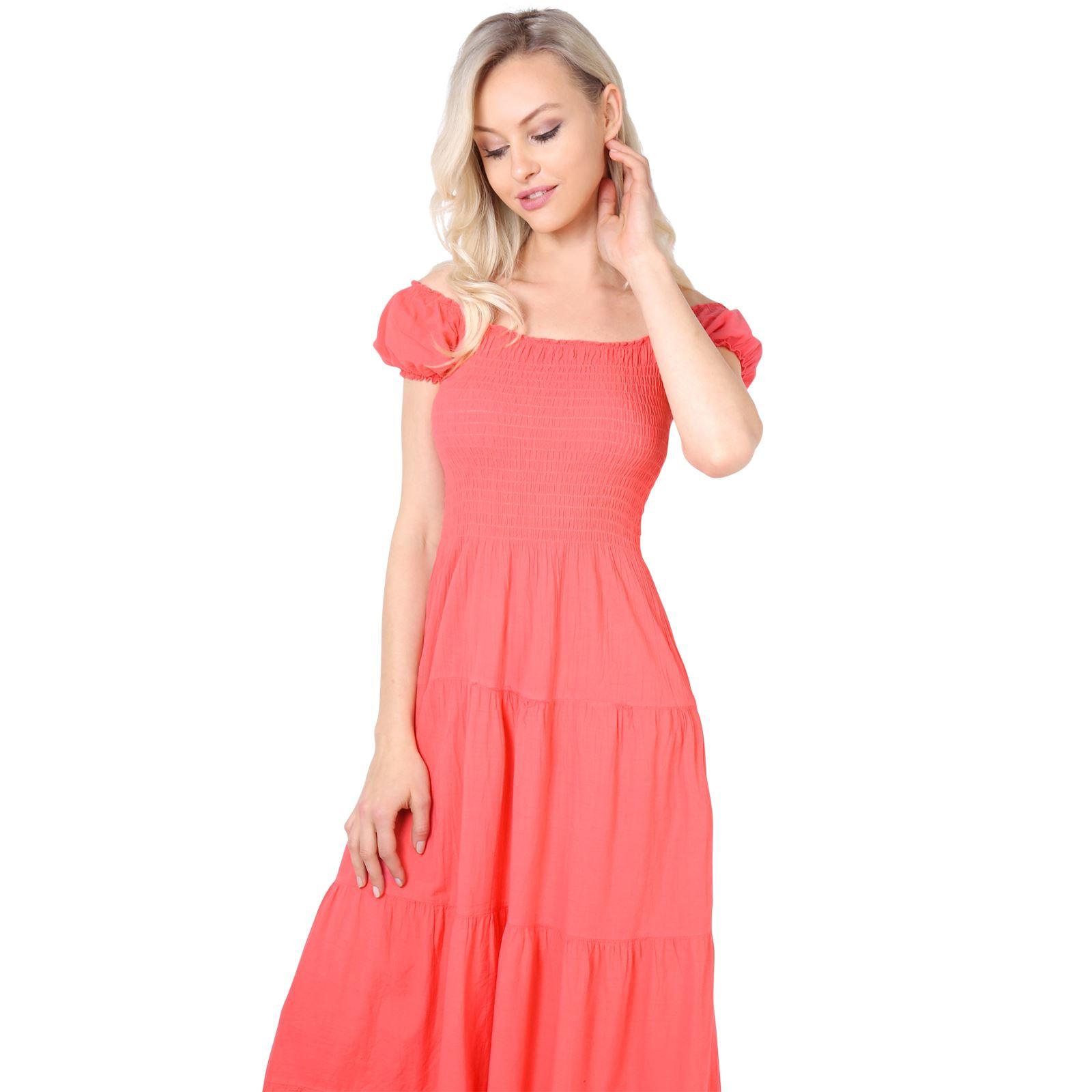 Damen Boho Maxi Kleid Einfarbig Bodenlang Baumwolle Sommer Urlaub ...