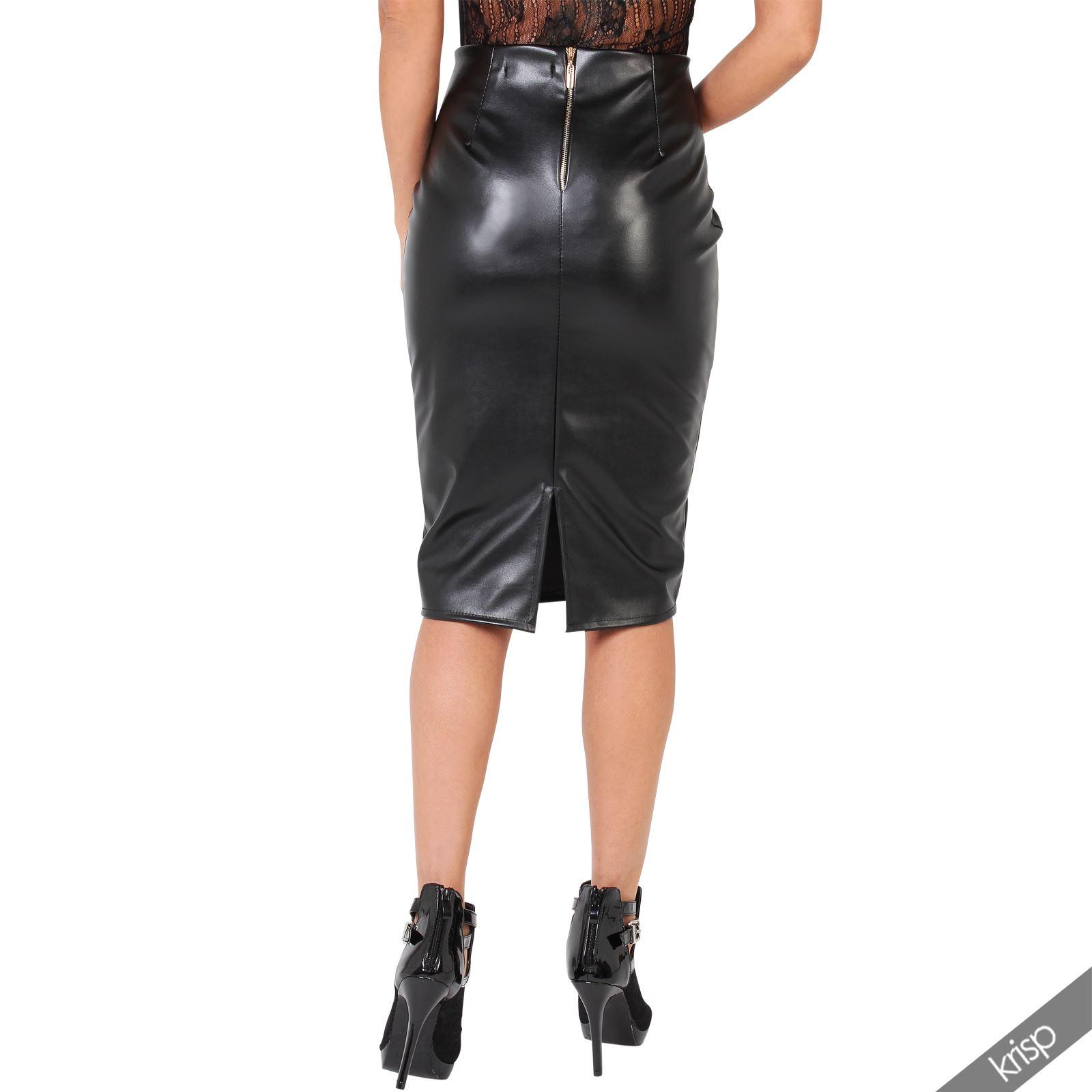 womens casual stretch pu leather pencil bodycon high waist
