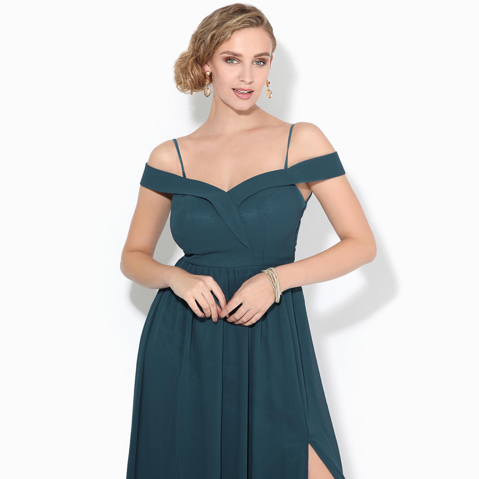 Womens-Ladies-Off-Shoulder-Formal-Maxi-Dress-Slit-Split-Long-Gown-Wedding-Party thumbnail 12