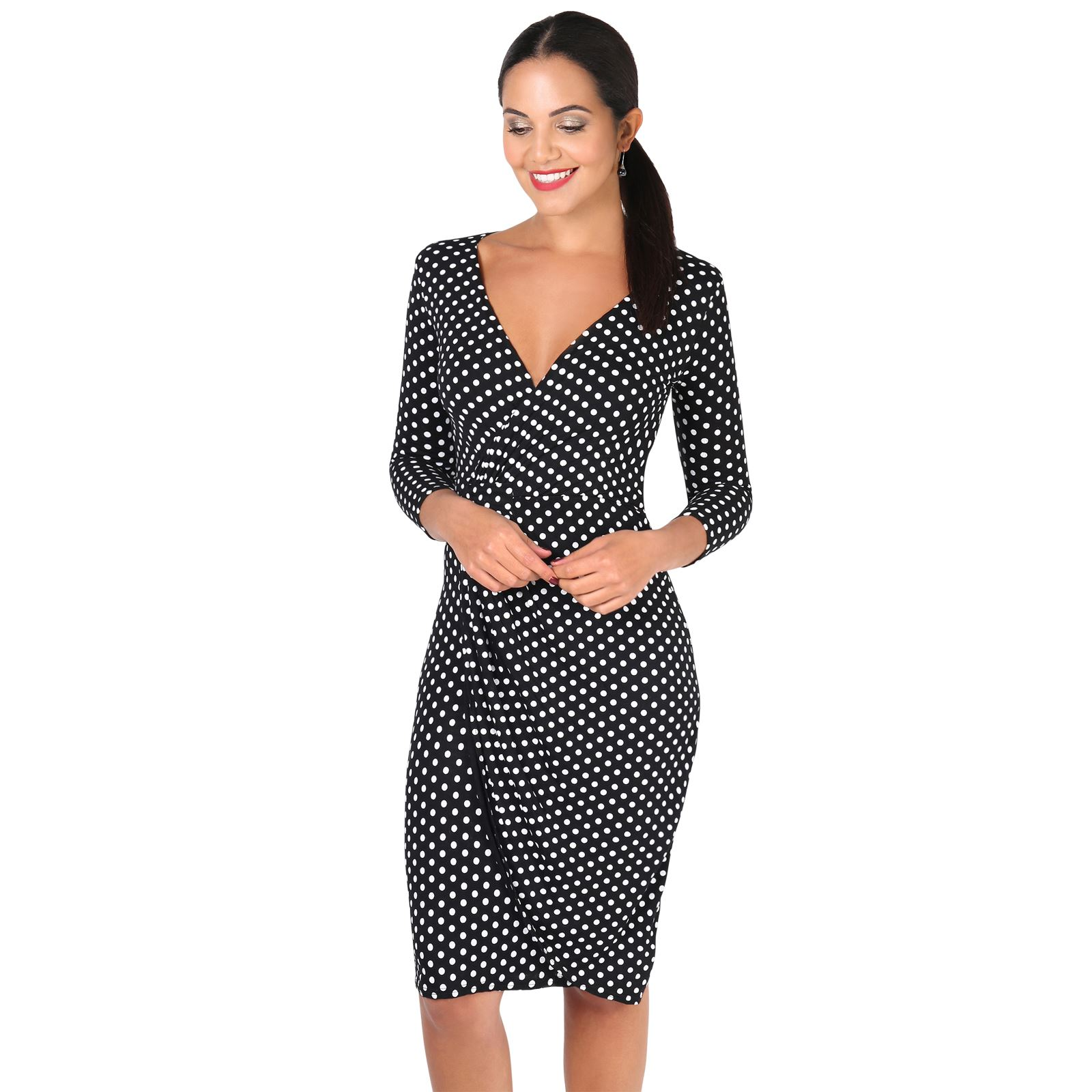 Womens-Polka-Dot-Knot-Front-V-Neck-Top-Pleated-Bodycon-Skirt-Pin-Up-Swing-Dress