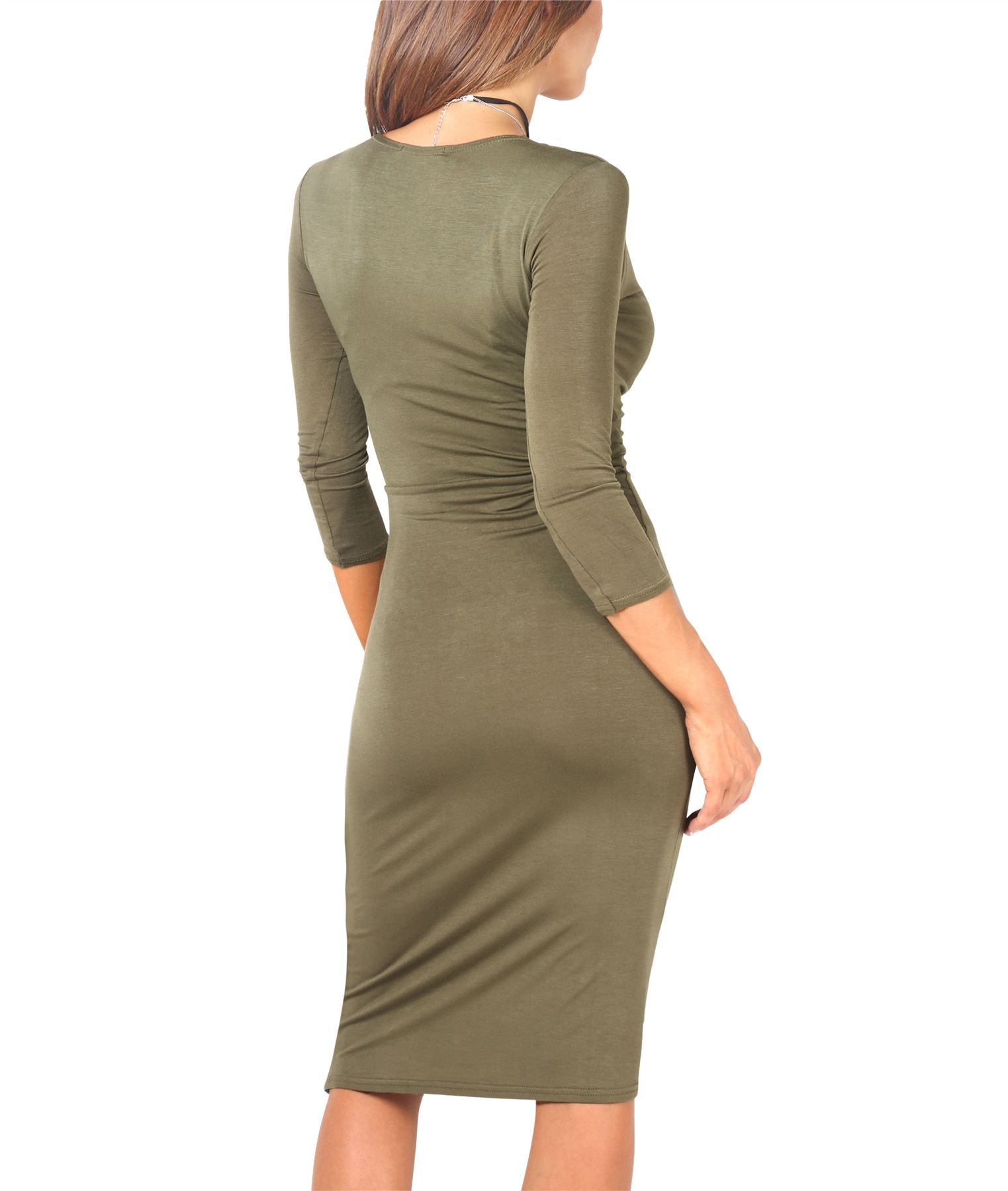 Womens-Ladies-Shift-Wrap-Dress-Midi-Knee-Long-Quarter-Sleeve-Sexy-Solid-Party thumbnail 13