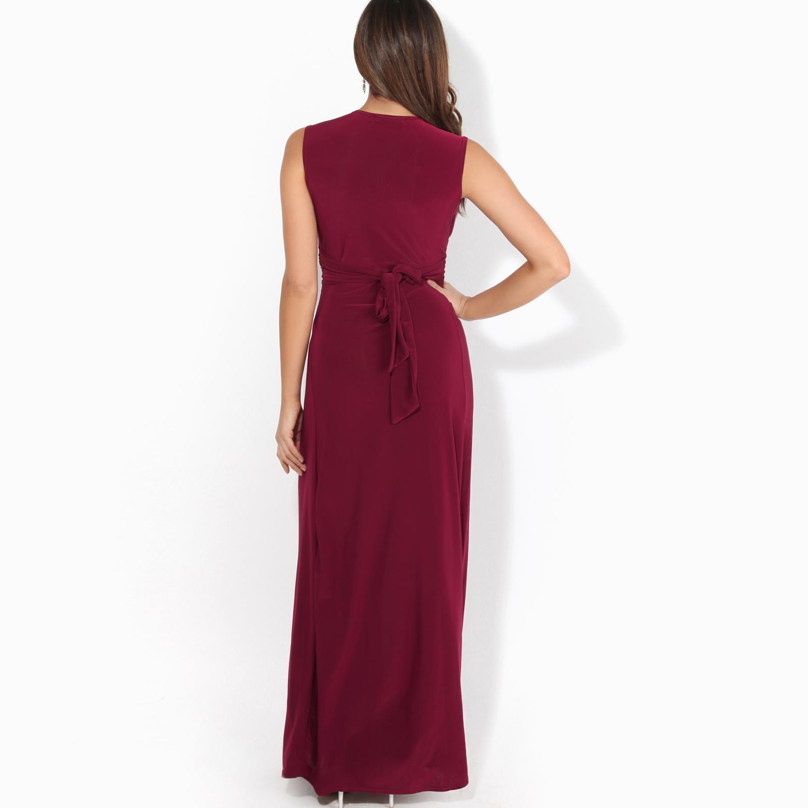 Womens-Ladies-Boho-Long-Maxi-Dress-Knot-V-Neck-Sleeveless-Pleated-Summer-Party thumbnail 16
