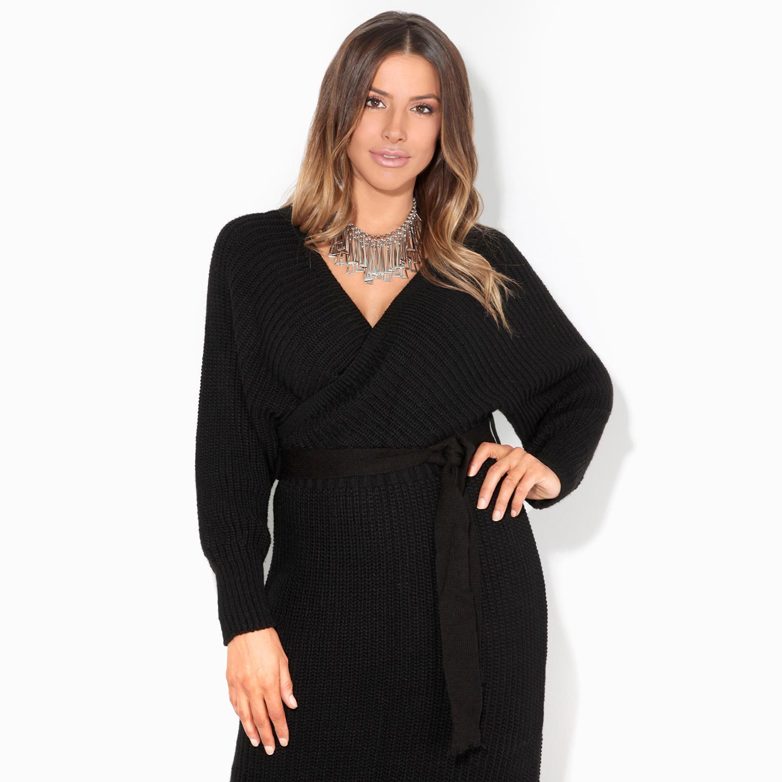 Womens-Ladies-Jumper-Dress-Chunky-Knit-Wrap-V-Neck-Maxi-Long-Sleeve-Winter-Top thumbnail 3