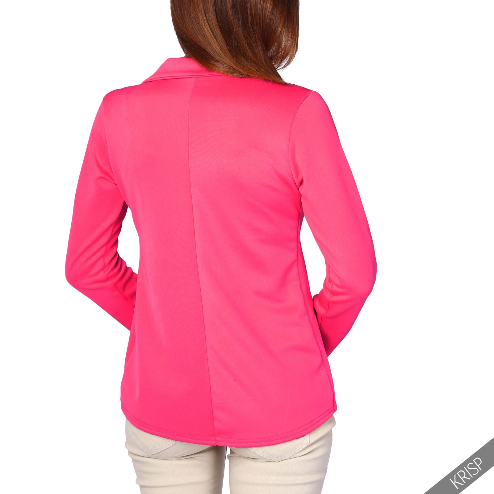Womens-Jacket-Shrug-Casual-Blazer-Jersey-Smart-Suit-Ladies-Office-Evening-Coat thumbnail 7