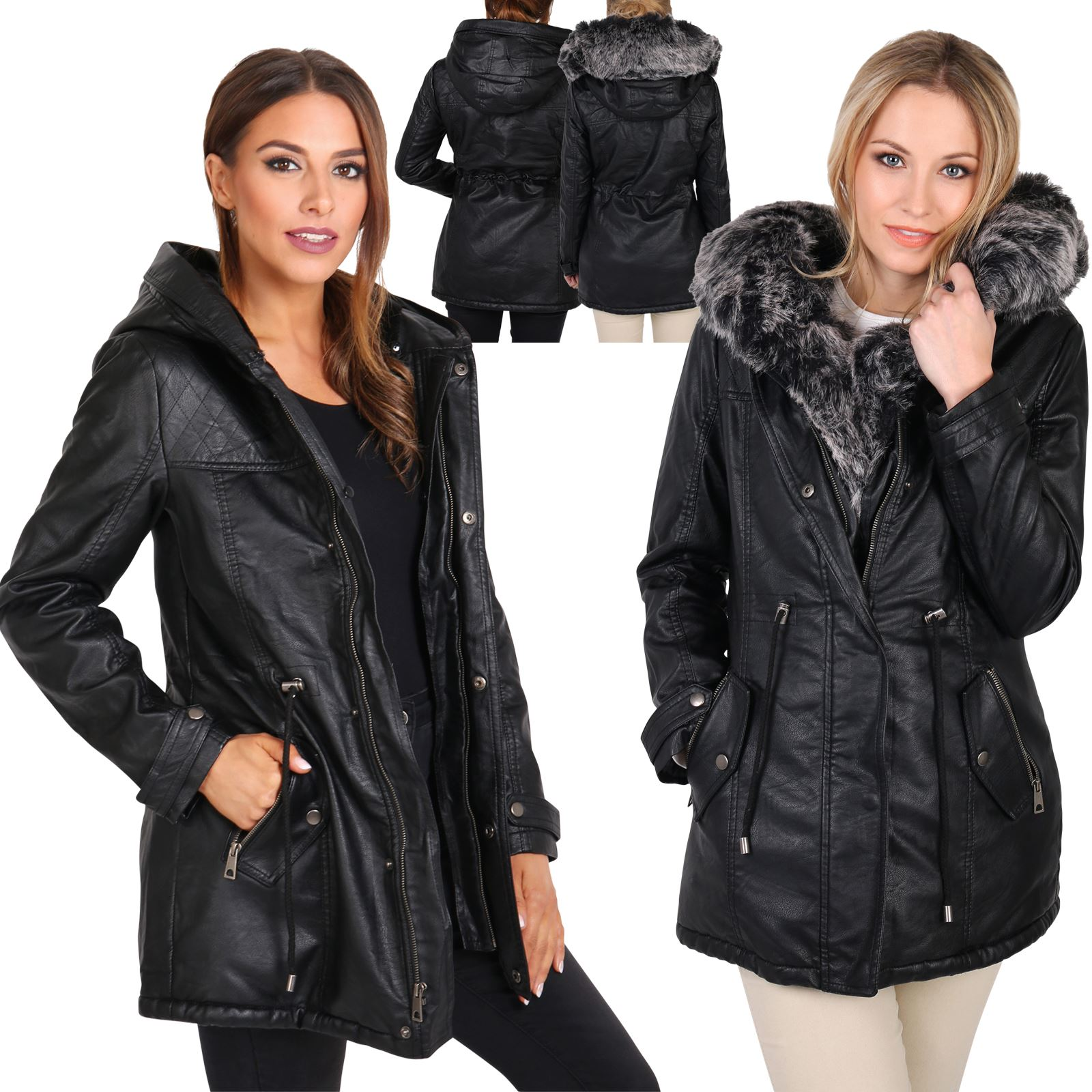 damen frauen warmer fellfutter kunstleder parka kapuze fell pelz imitat jacke ebay. Black Bedroom Furniture Sets. Home Design Ideas