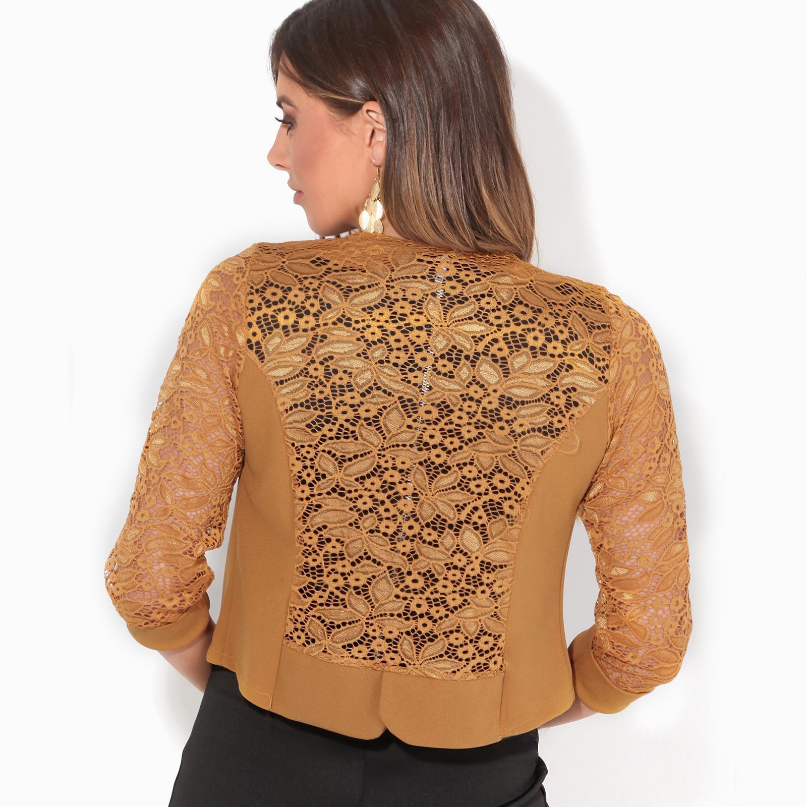 Womens-Ladies-Bolero-Lace-Shrug-Short-Sleeve-Cardigan-Cropped-Party-Top-Jacket thumbnail 11