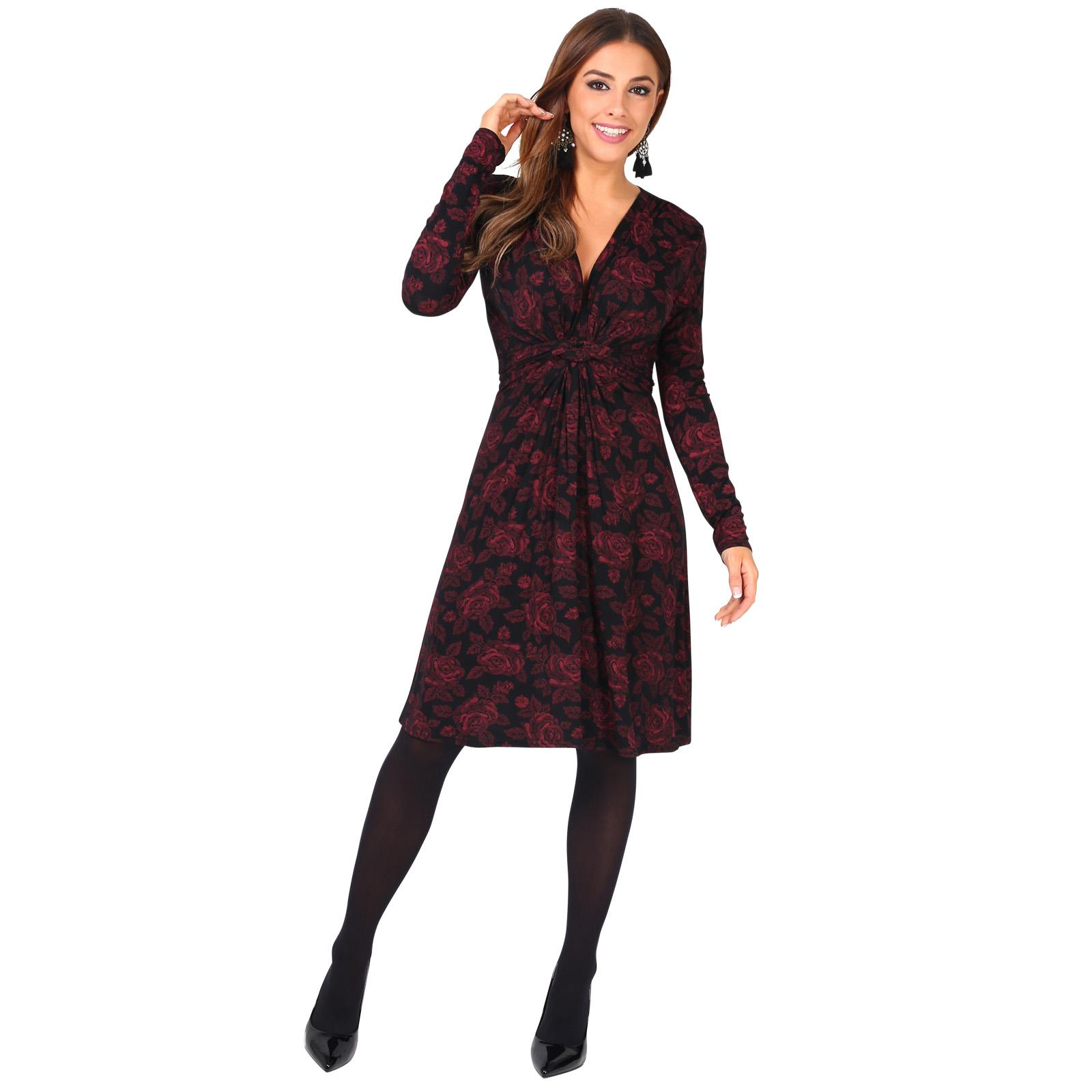 Womens-Ladies-Mini-Dress-Drape-Stretch-Long-Sleeve-Ruched-Twist-Knot-Party-Work thumbnail 93