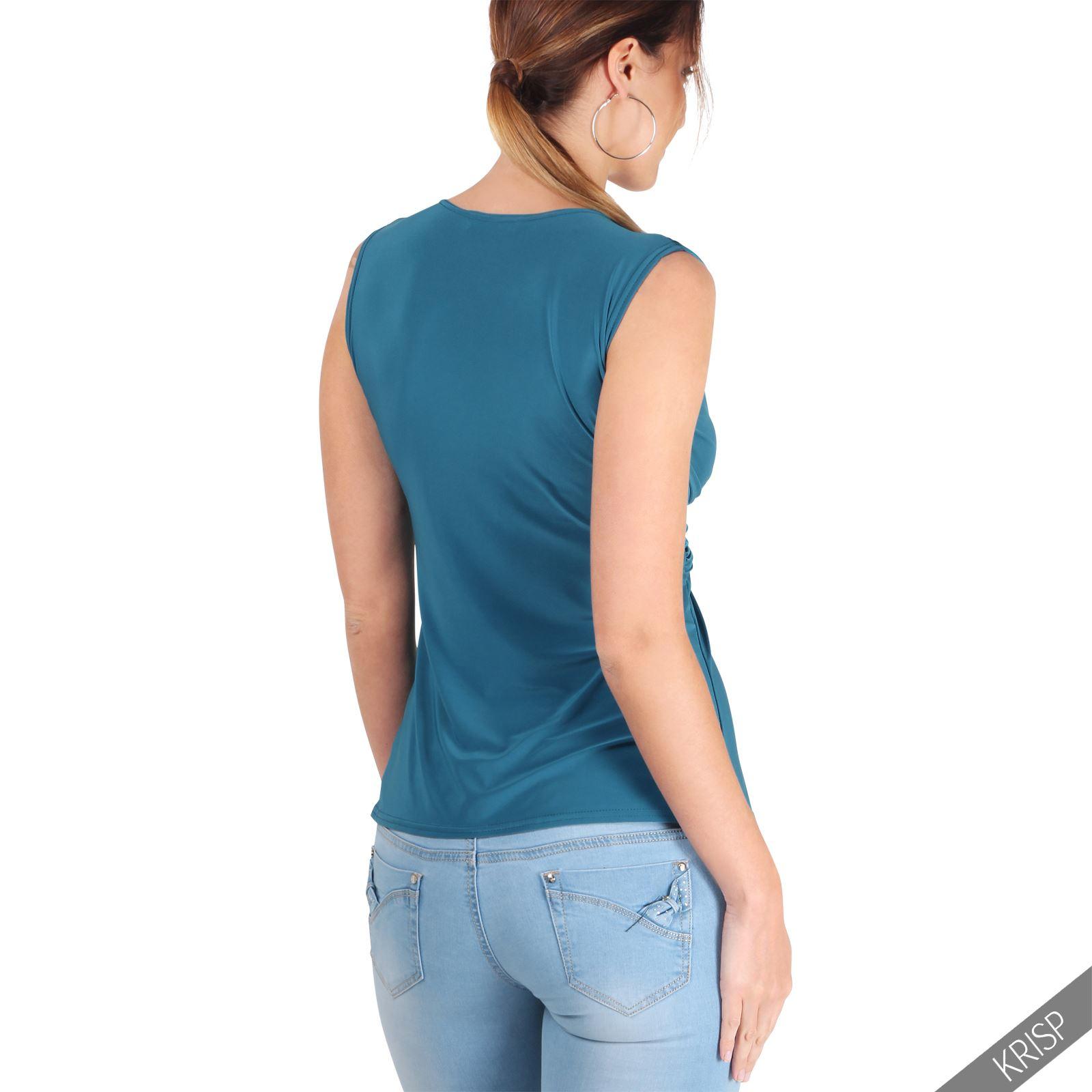 Femmes-Haut-Debardeur-T-shirt-Tee-Shirt-Top-Sans-Manche-Uni-Affaires-Ete-Plage miniature 12