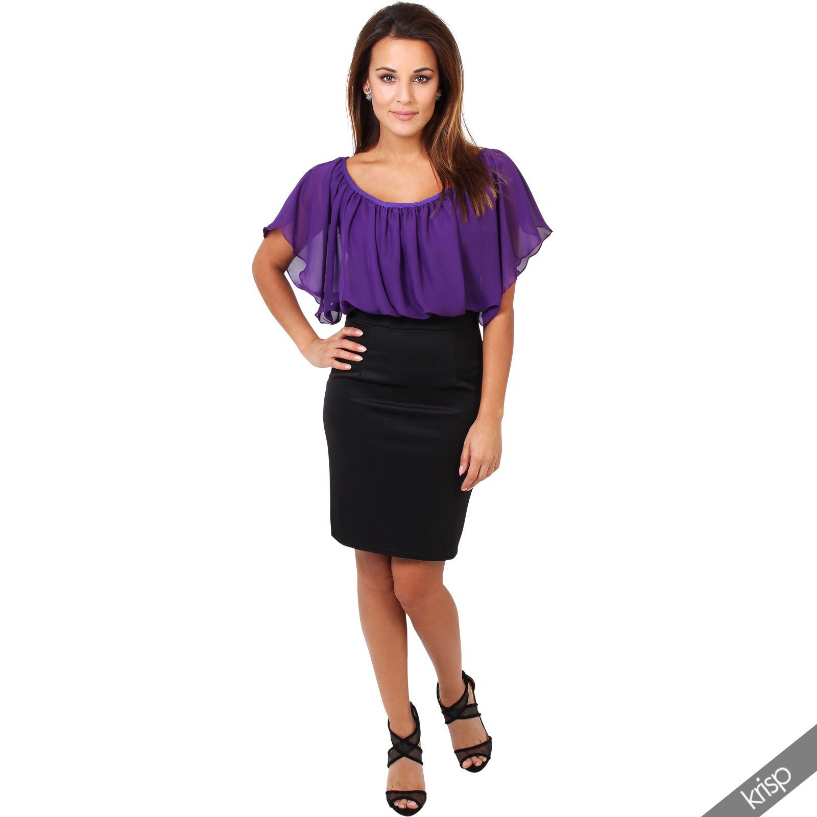 Womens-Pleated-Chiffon-Batwing-Top-High-Waist-Pencil-Bodycon-Skirt-Mini-Dress thumbnail 20