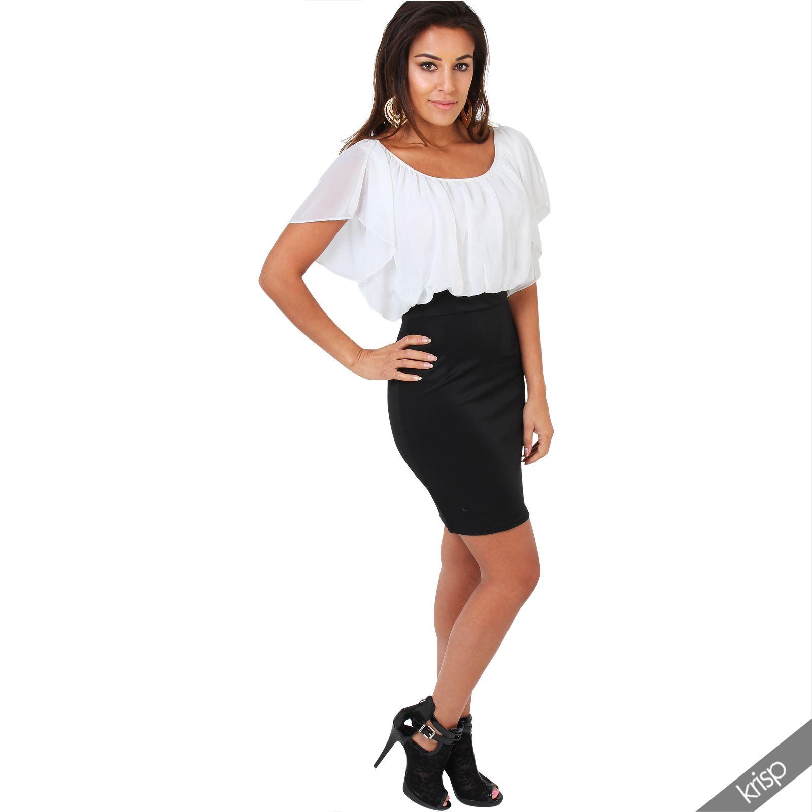 Womens-Pleated-Chiffon-Batwing-Top-High-Waist-Pencil-Bodycon-Skirt-Mini-Dress thumbnail 14