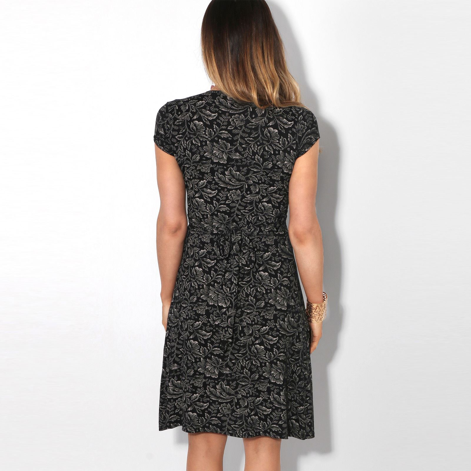 Womens-Ladies-V-Neck-Mini-Midi-Dress-Floral-Print-Knot-Short-Skirt-Party-Casual thumbnail 9