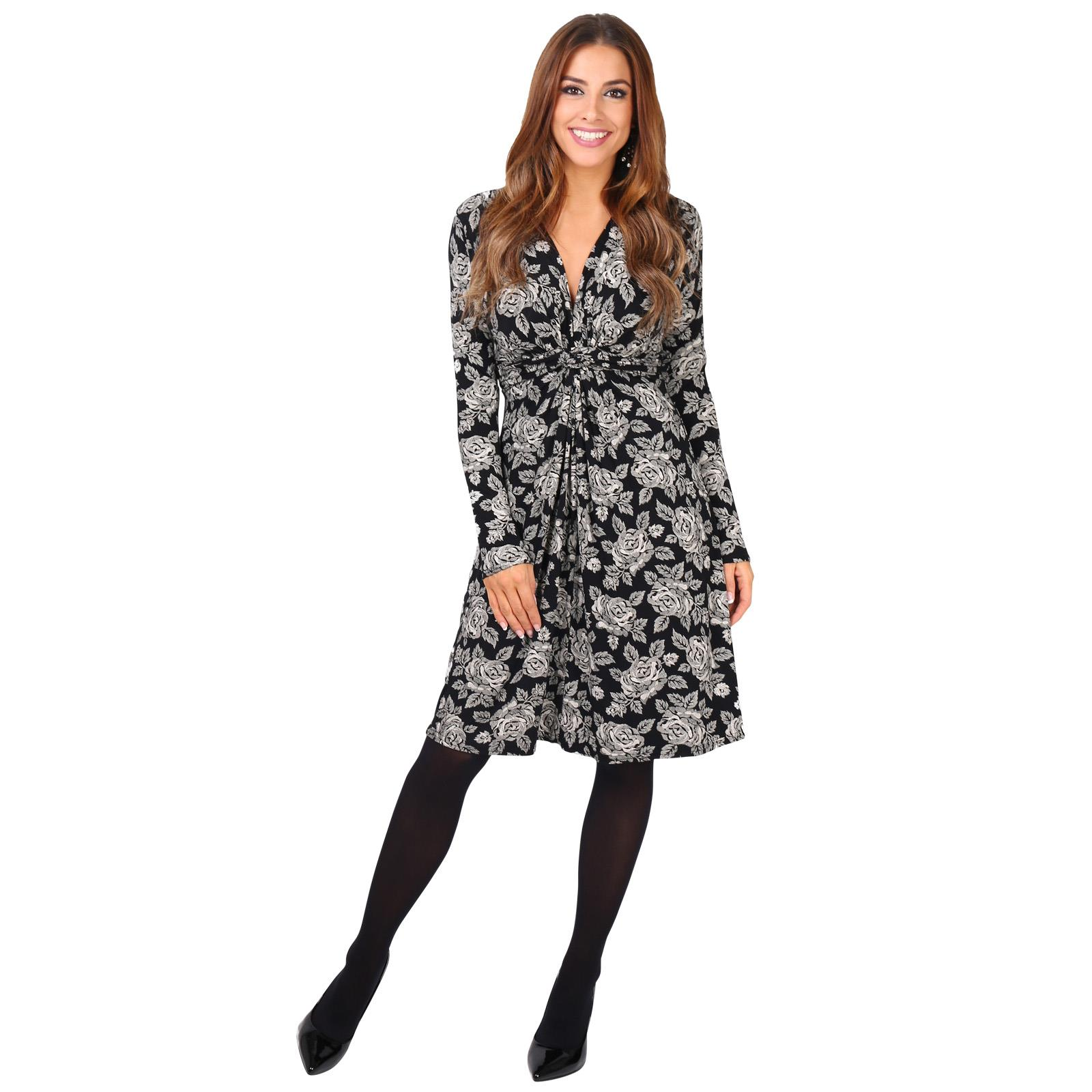 Womens-Ladies-Mini-Dress-Drape-Stretch-Long-Sleeve-Ruched-Twist-Knot-Party-Work thumbnail 72