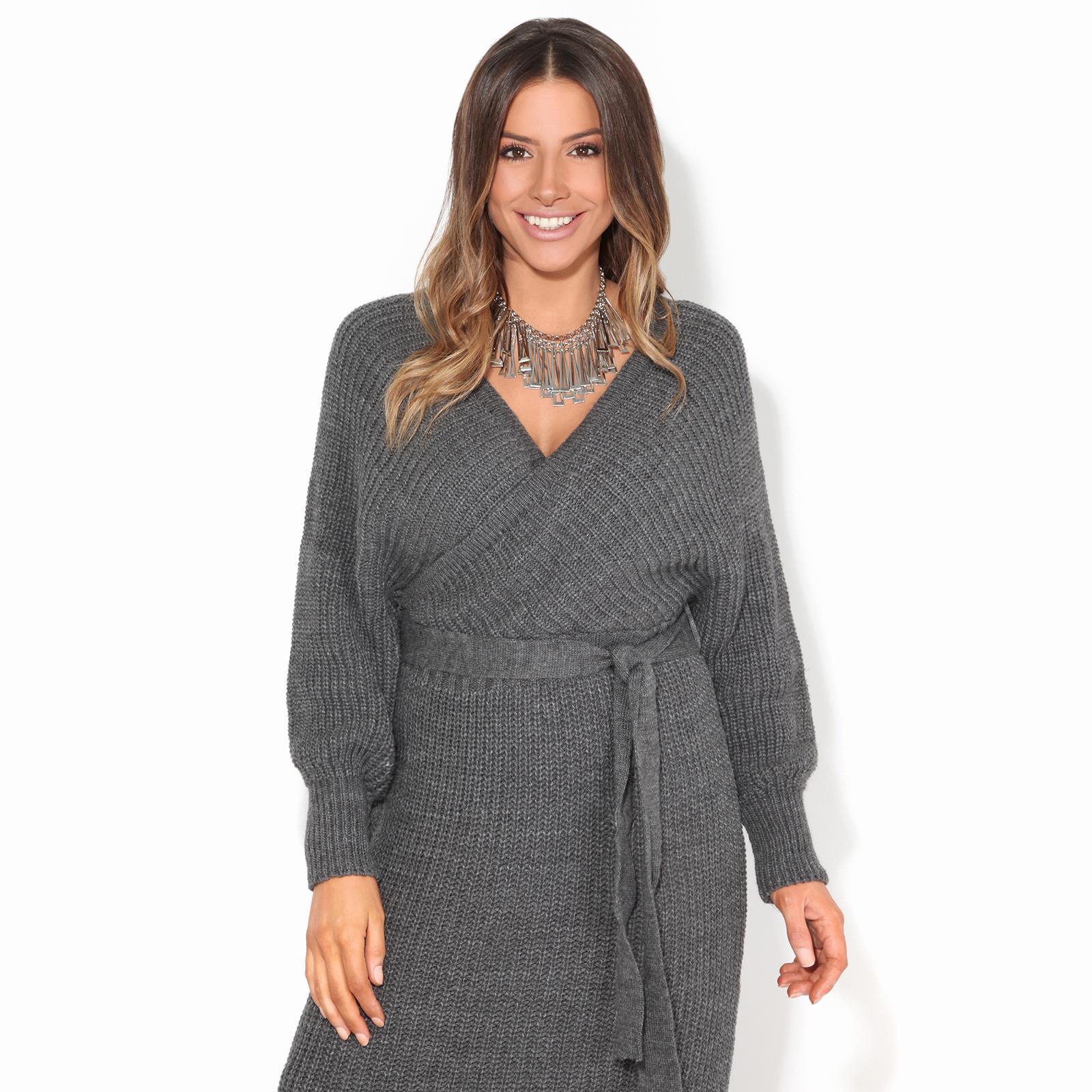 Womens-Ladies-Jumper-Dress-Chunky-Knit-Wrap-V-Neck-Maxi-Long-Sleeve-Winter-Top thumbnail 6