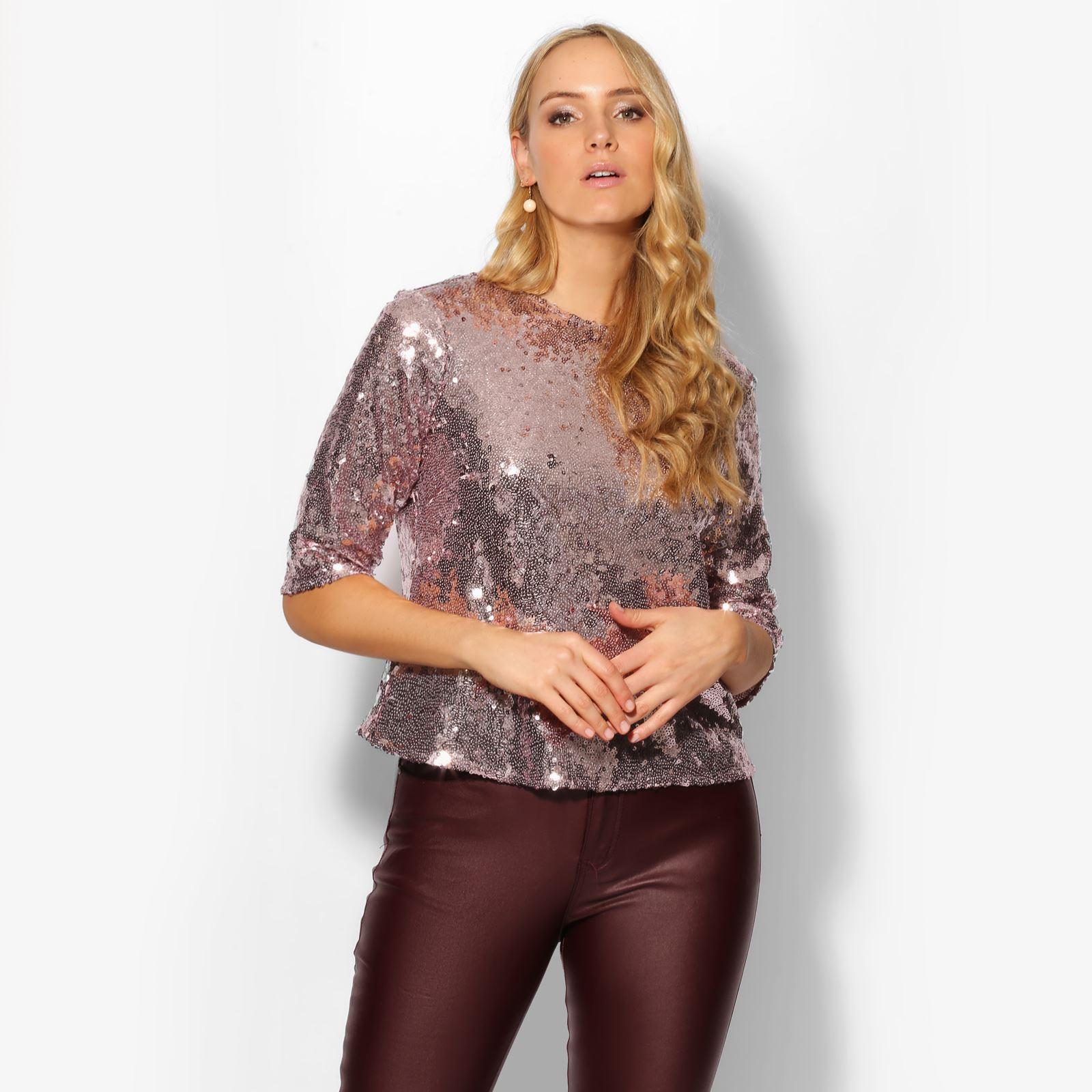 323c0ec4573df Women Sequin Party Top Ladies Sparkle Glitter Short Sleeve Boxy Blouse T  Shirt
