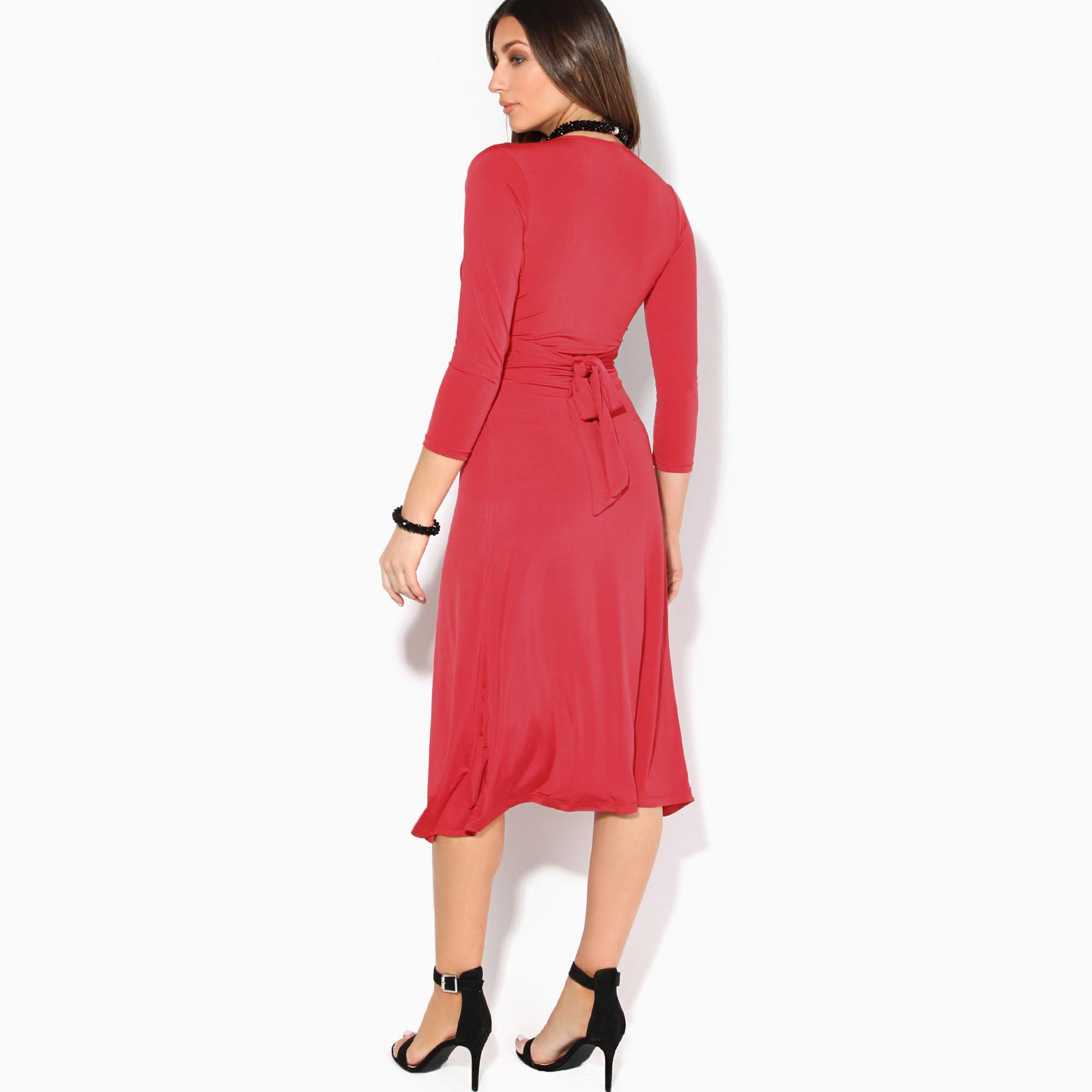 Women-Ladies-V-Neck-Midi-Dress-Knee-Long-A-Line-Skirt-3-4-Sleeve-Knot-Party-Work thumbnail 10