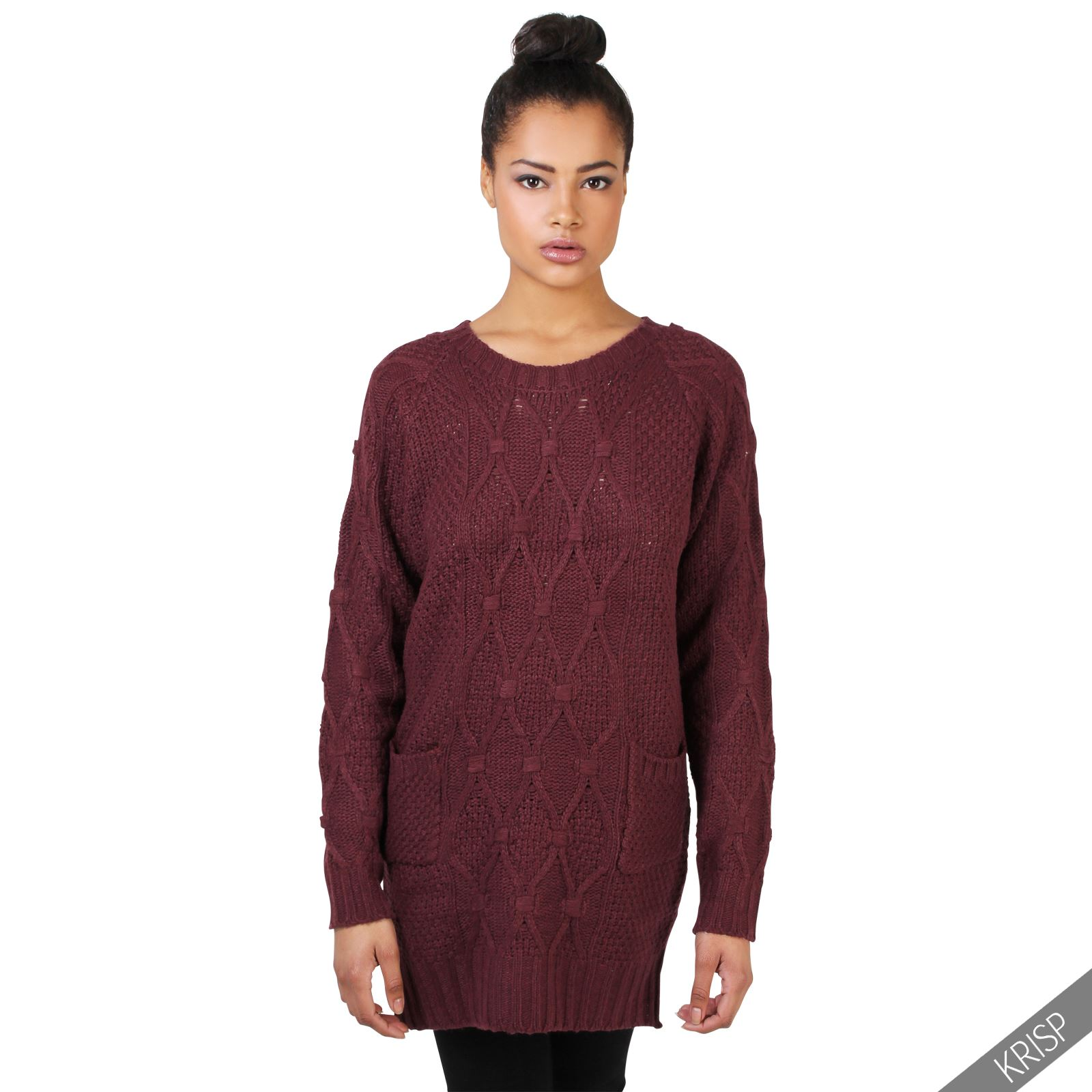 Womens Chunky Cable Knit Baggy Long Winter Jumper Ladies ...