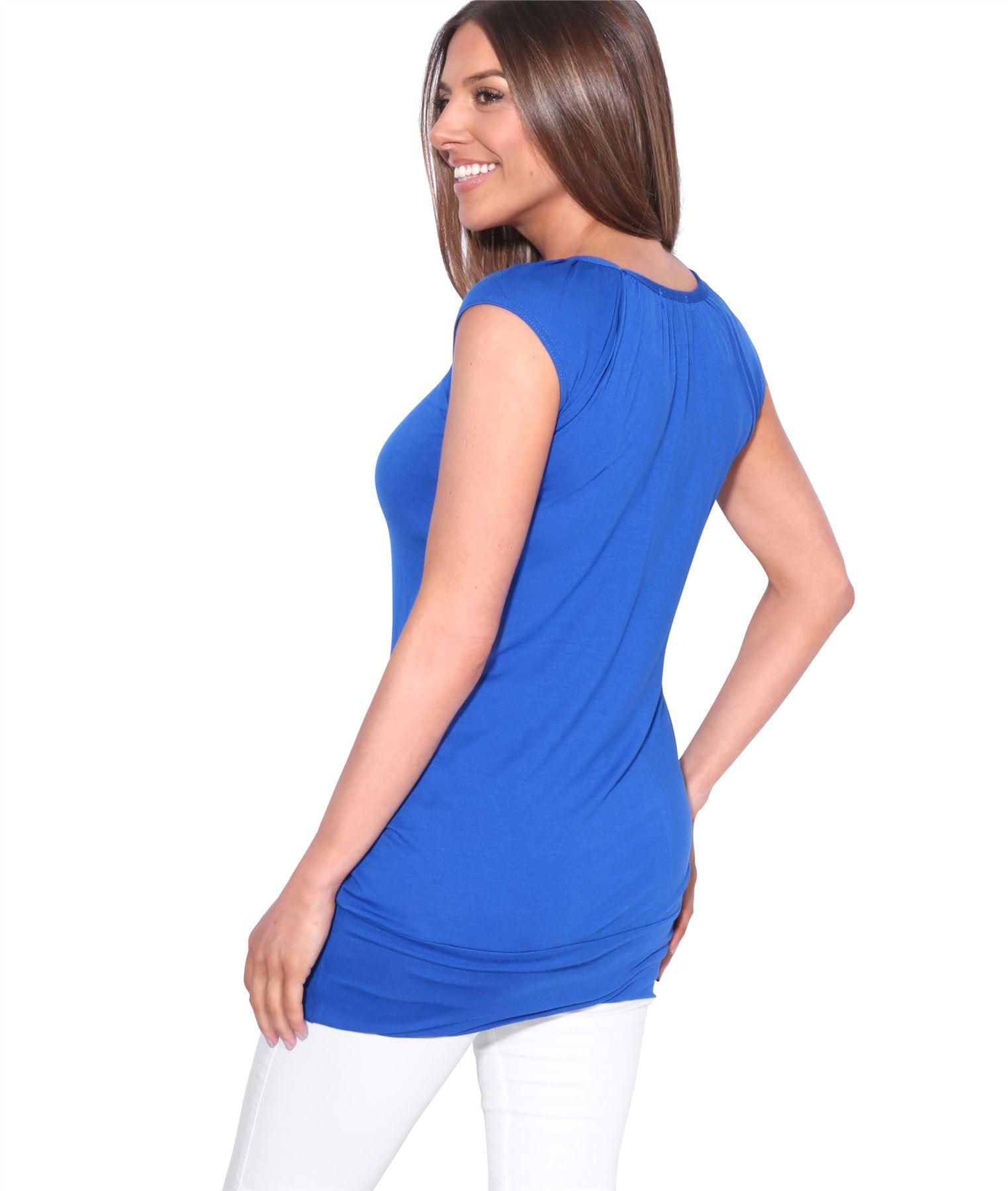 Womens-Ladies-Plain-T-Shirt-Short-Sleeve-Long-Loose-V-Neck-Blouse-Tunic-Top thumbnail 51