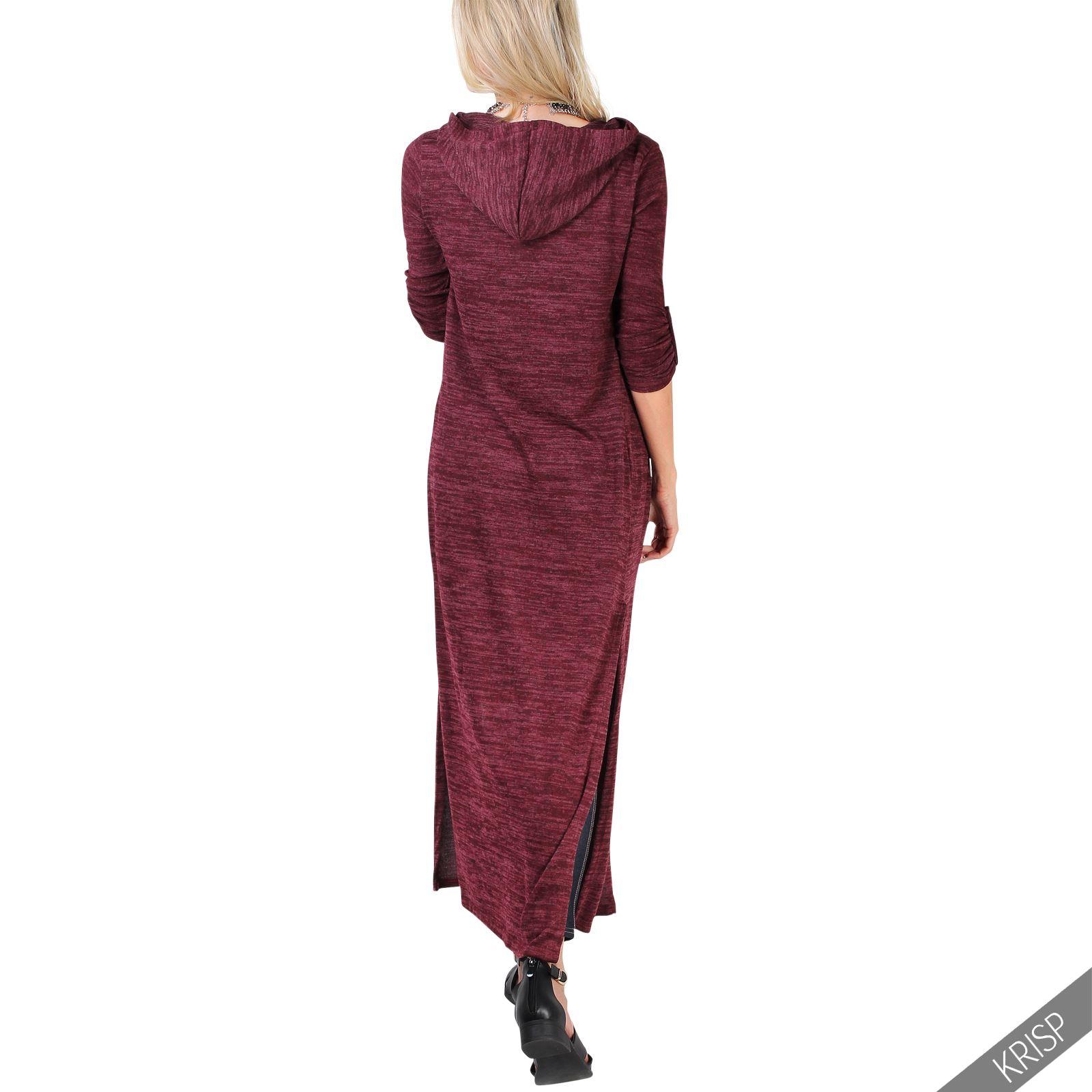 Femmes-Longue-Jacket-Veste-Sweat-Doux-Capuche-Cardigan-Gilet-Manteau-Hiver miniature 3