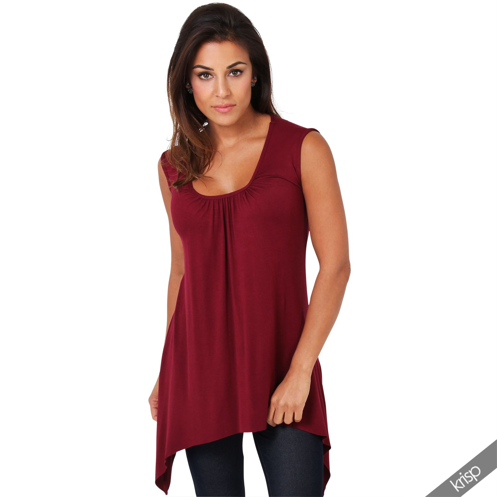 Women-Long-Top-Sleeveless-Pleated-Tee-Shirt-Tunic-Jersey-Stretch-Loose-Fit thumbnail 34