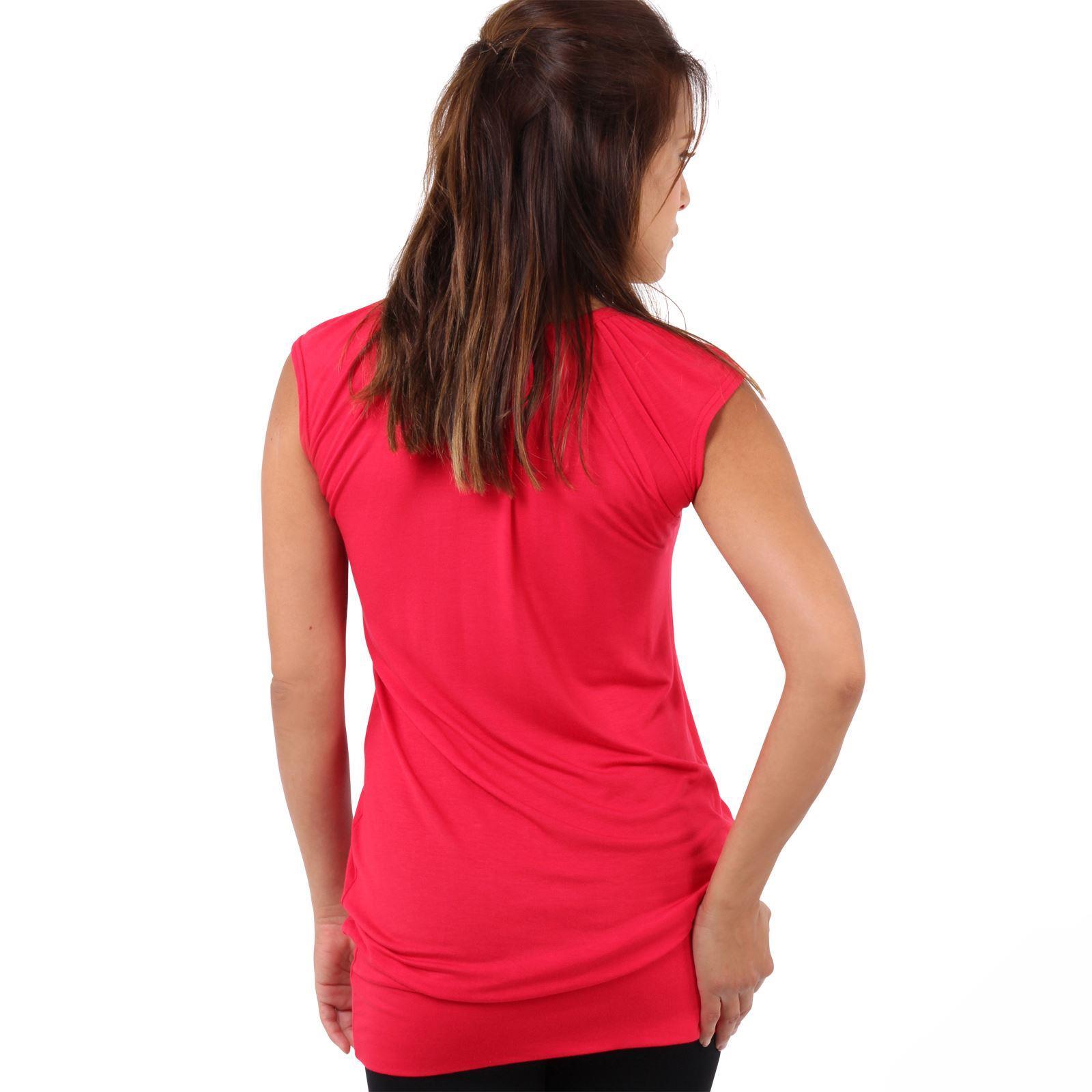 Womens-Ladies-Plain-T-Shirt-Short-Sleeve-Long-Loose-V-Neck-Blouse-Tunic-Top thumbnail 49