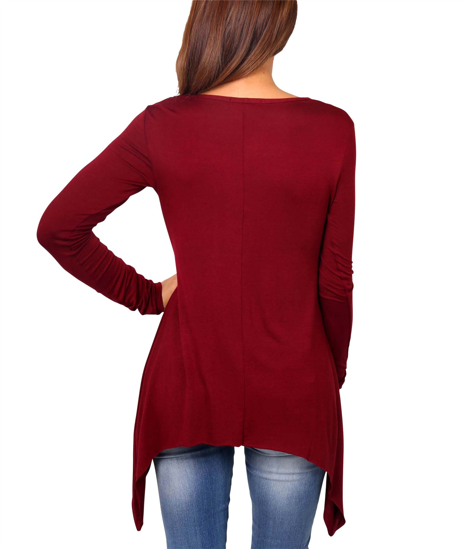 Womens-Ladies-Scoop-Neck-Blouse-Longline-T-Shirt-Flared-Top-Pleated-Long-Sleeve thumbnail 9