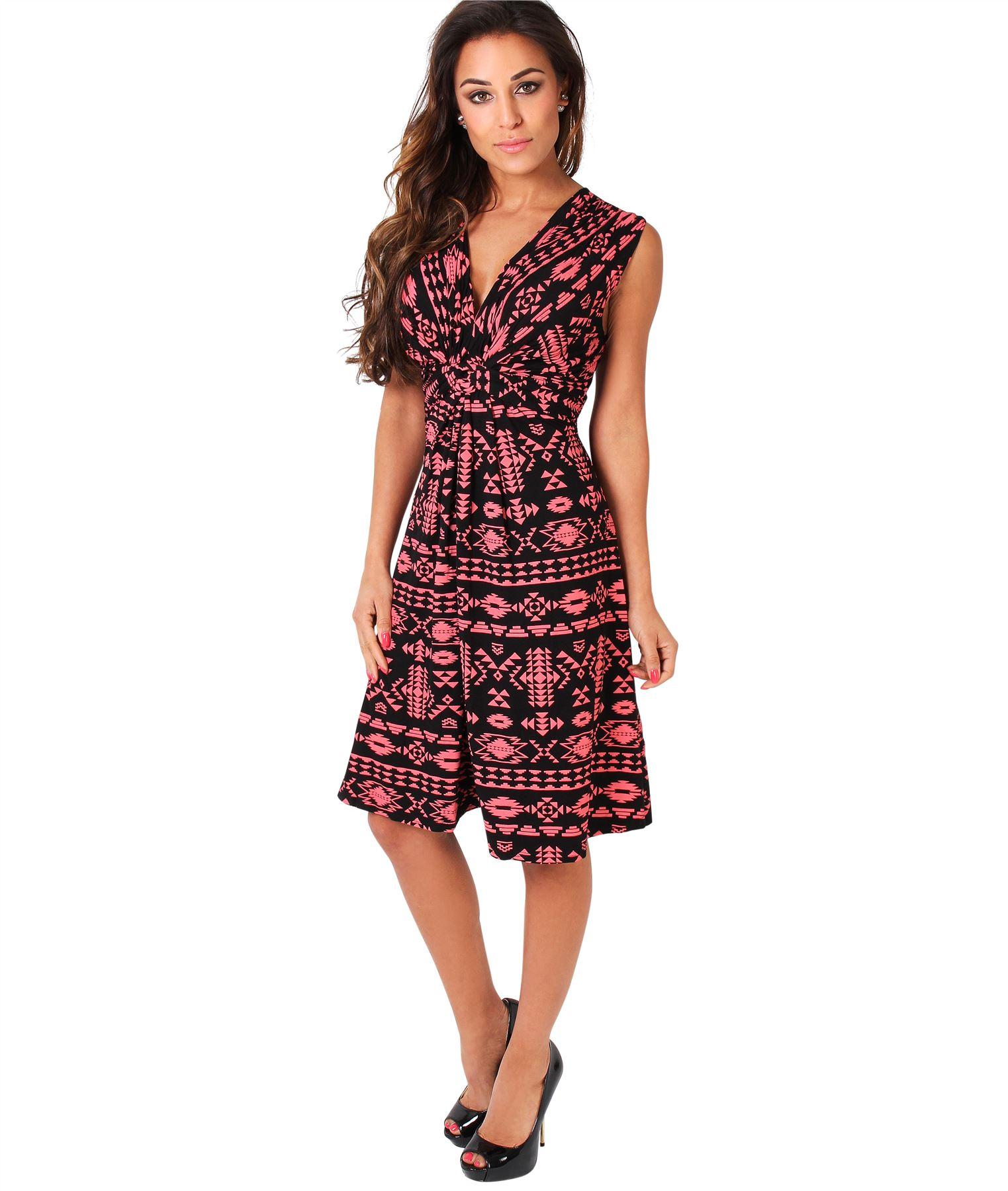 Womens-V-Neck-Mini-Dress-Small-Sizes-Short-Skirt-Tribal-Print-Front-Knot-Party thumbnail 3